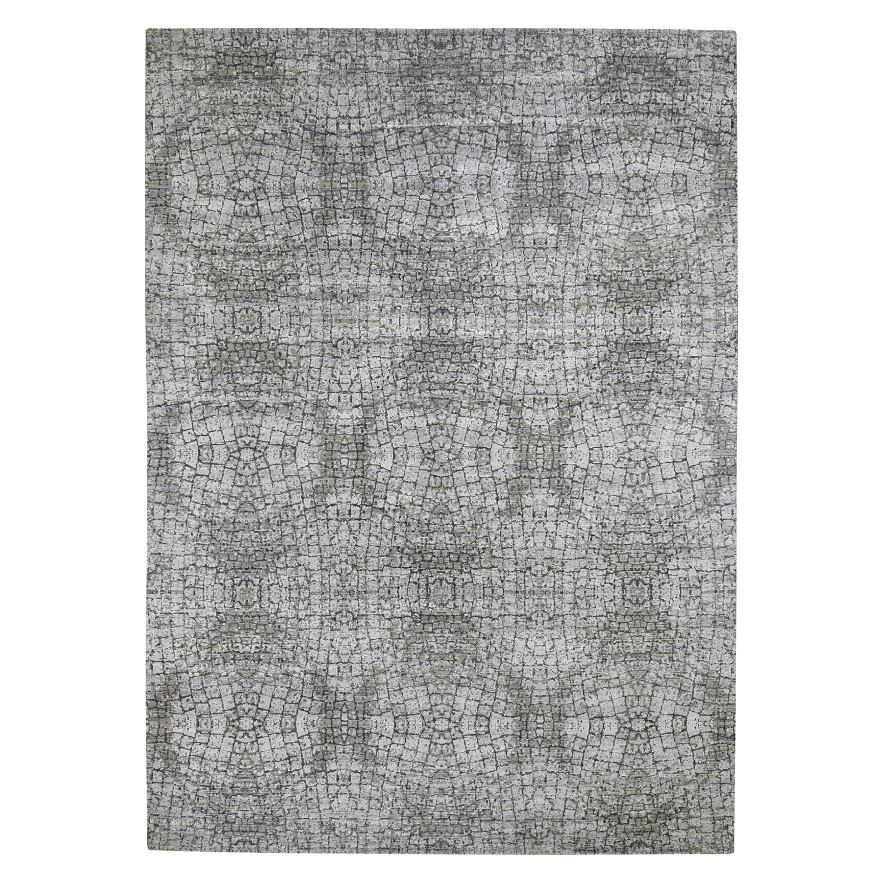 "8'10""X12'3"" Silver Pure Silk With Textured Wool Tone On Tone Hand-Knotted Oriental Rug moad69bc"