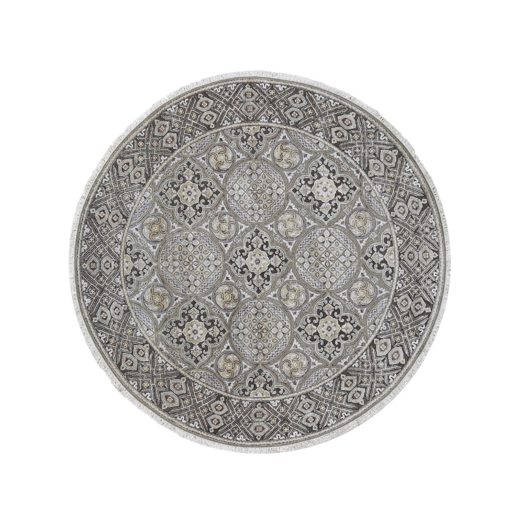 "7'10""X7'10"" Textured Wool And Silk Mughal Inspired Medallions Round Hand-Knotted Oriental Rug moad69b9"