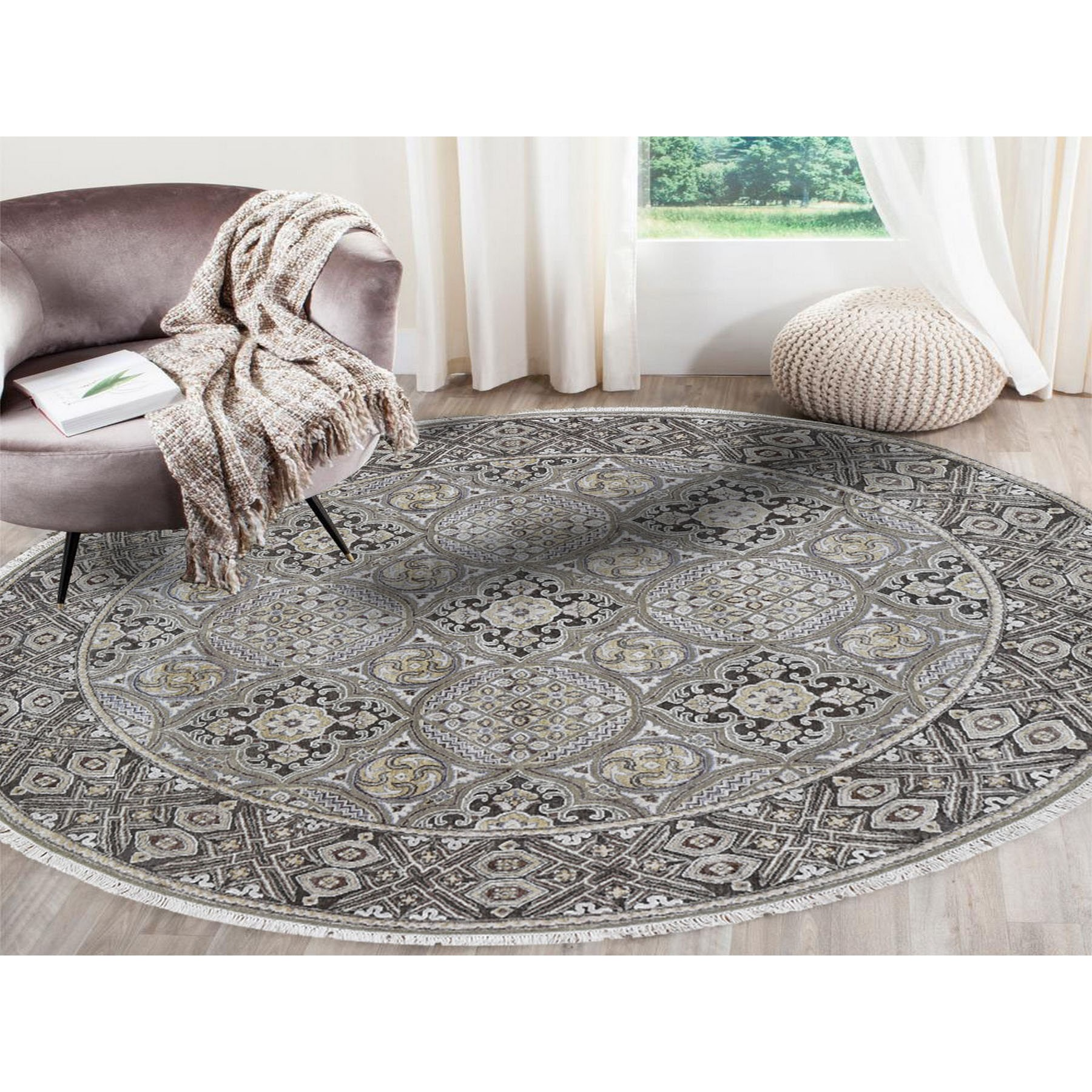 10'x10' Textured Wool and Silk Mughal Inspired Medallions Round Hand-Knotted Oriental Rug