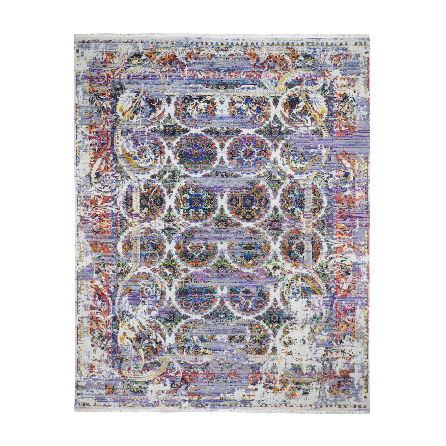8'X10' Erased Rossets, Colorful Sari Silk With Oxidized Wool Hand-Knotted Oriental Rug moad69ce