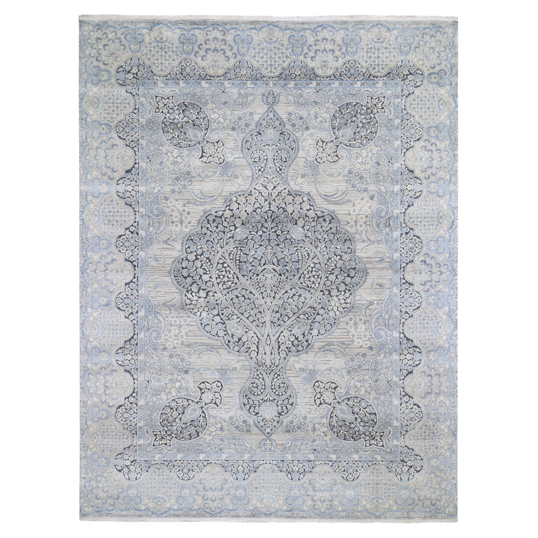 "8'10""X11'7"" Tree Of Life Design Silk Oxidized Wool Hand-Knotted Oriental Rug moad69c6"