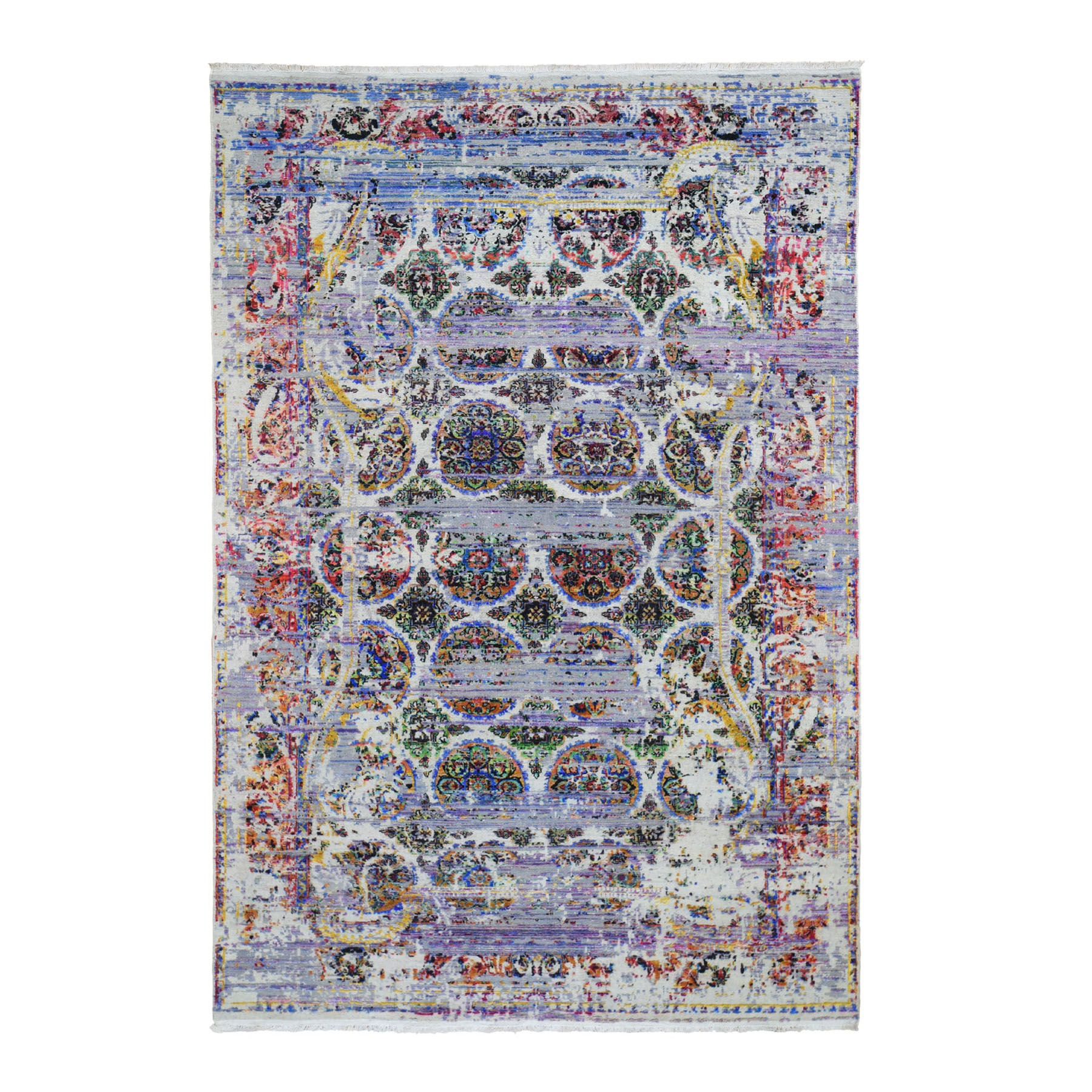 "6'x9'1"" ERASED ROSSETS, Colorful Sari Silk With Textured Wool Hand-Knotted Oriental Rug"