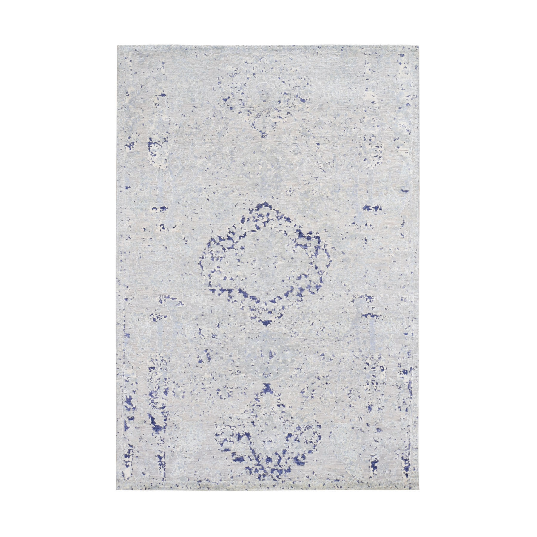 "4'10""x7'2"" Diminishing Cypress Tree With Medallion Design Silk With Textured Wool Hand-Knotted Oriental Rug"