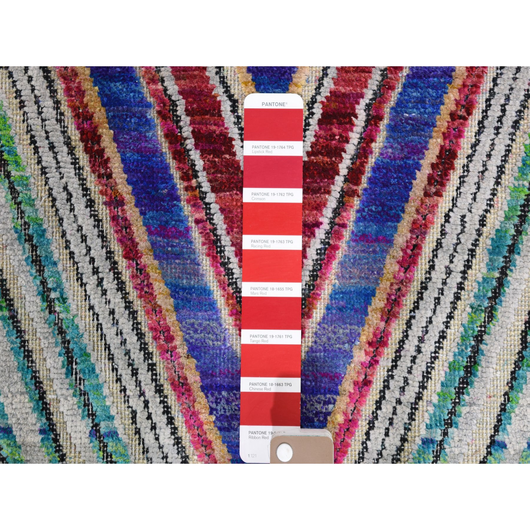 2-10 x5-2  Hand-Knotted Chevron Design Sari Silk with Textured Wool Oriental Rug