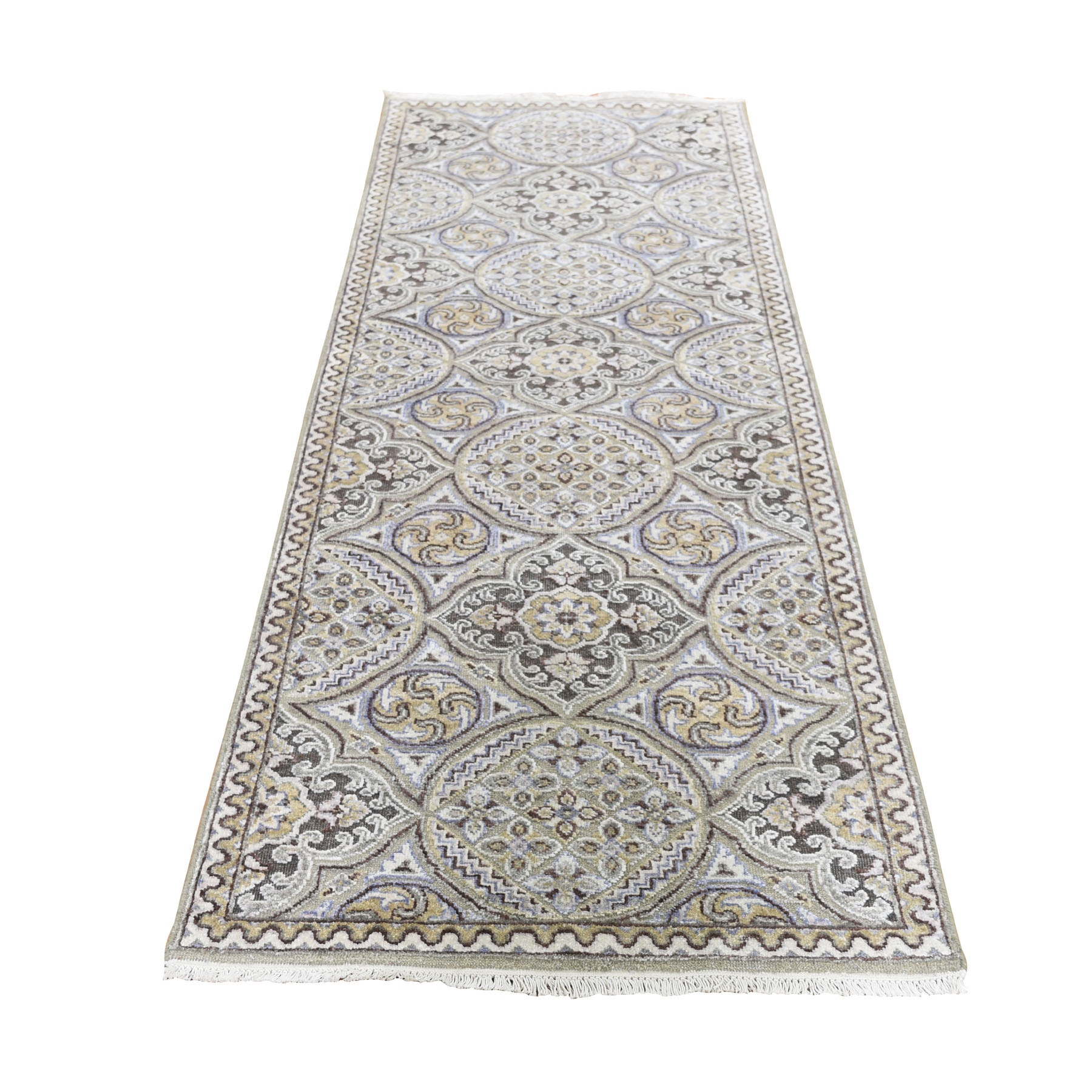 "2'6""X7'9"" Textured Wool And Silk Mughal Inspired Medallions Runner Oriental Rug moad69d8"