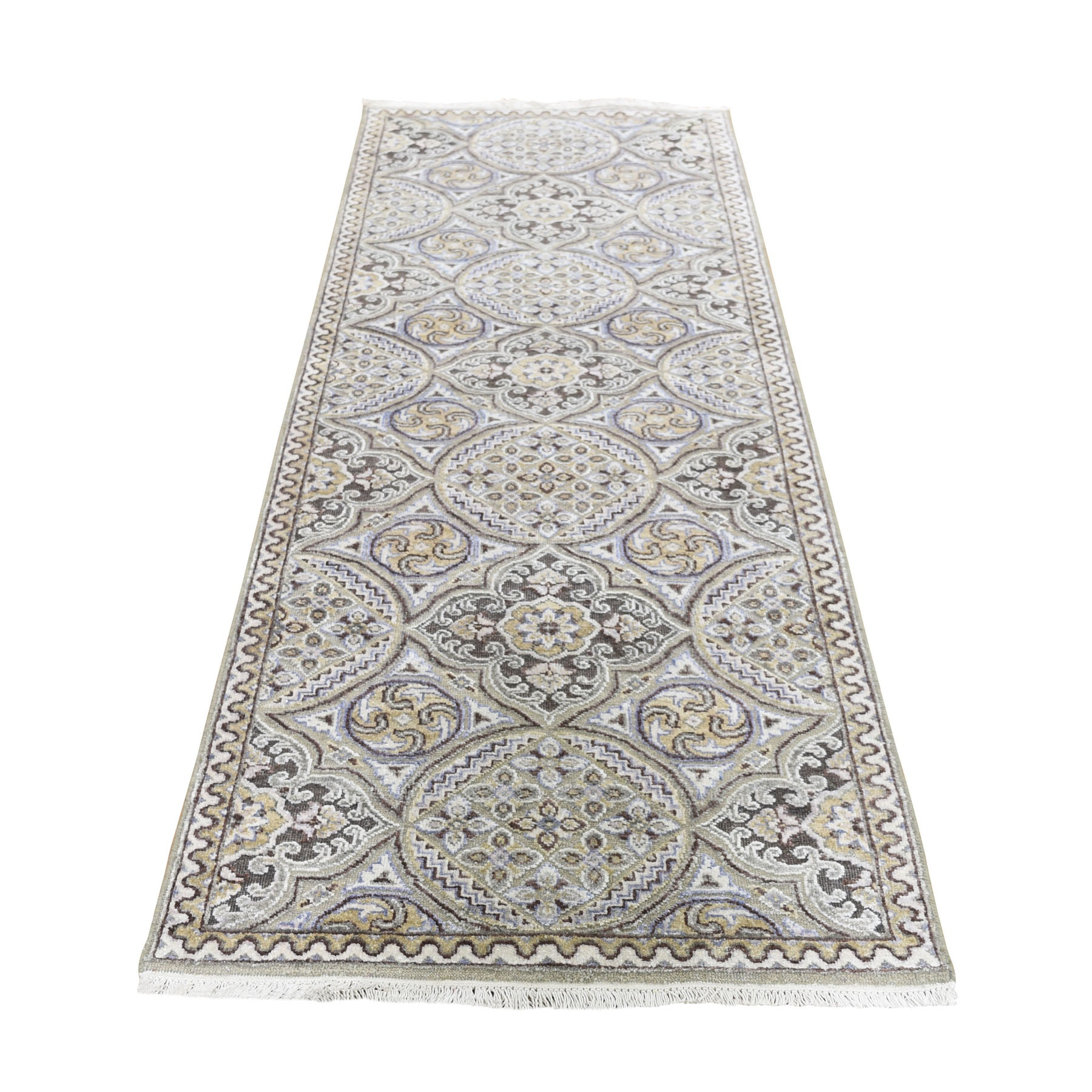 "2'7""X7'9"" Textured Wool And Silk Mughal Inspired Medallions Runner Oriental Rug moad69d9"
