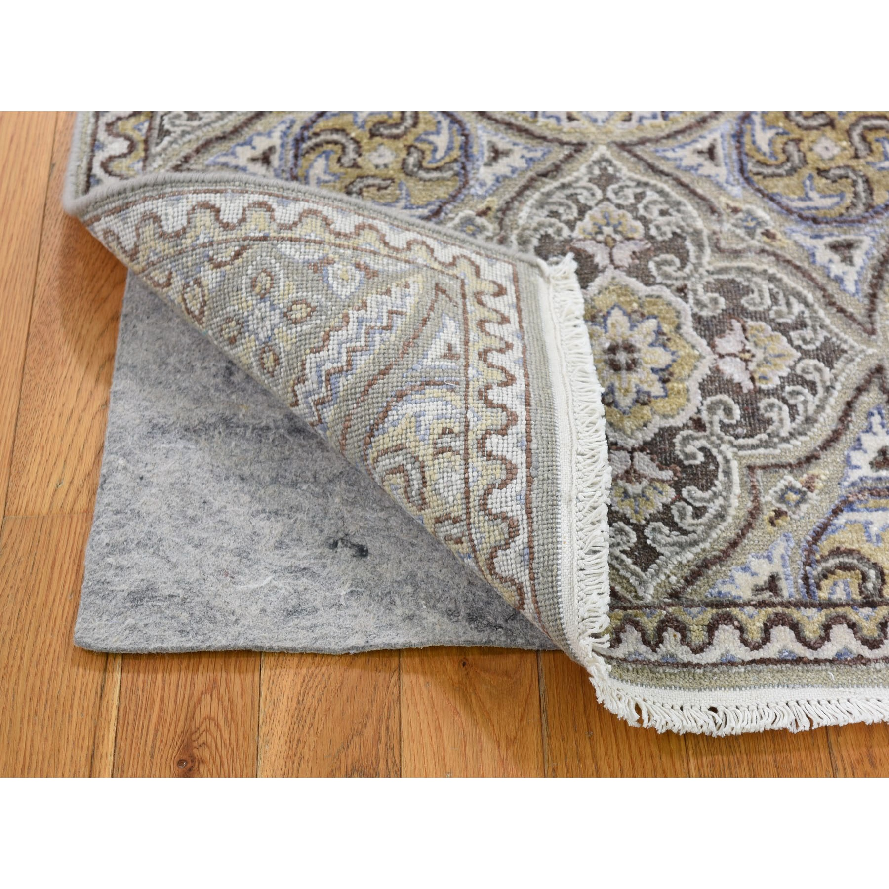 2-6 x6- Textured Wool and Silk Mughal Inspired Medallions Runner Oriental Rug