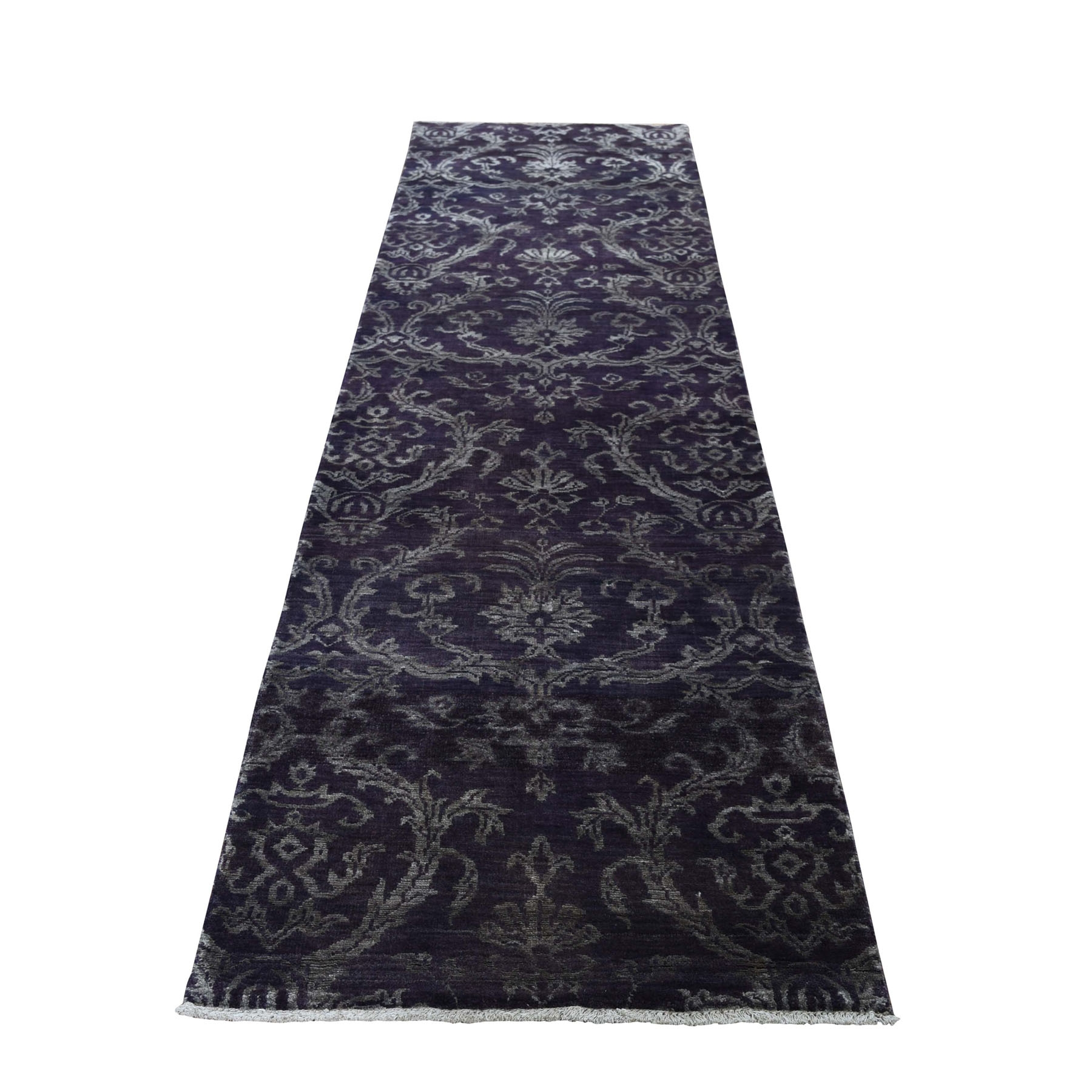 """2'5""""x9'8"""" Damask Runner Tone on Tone Wool and Silk Hand Knotted Oriental Rug"""
