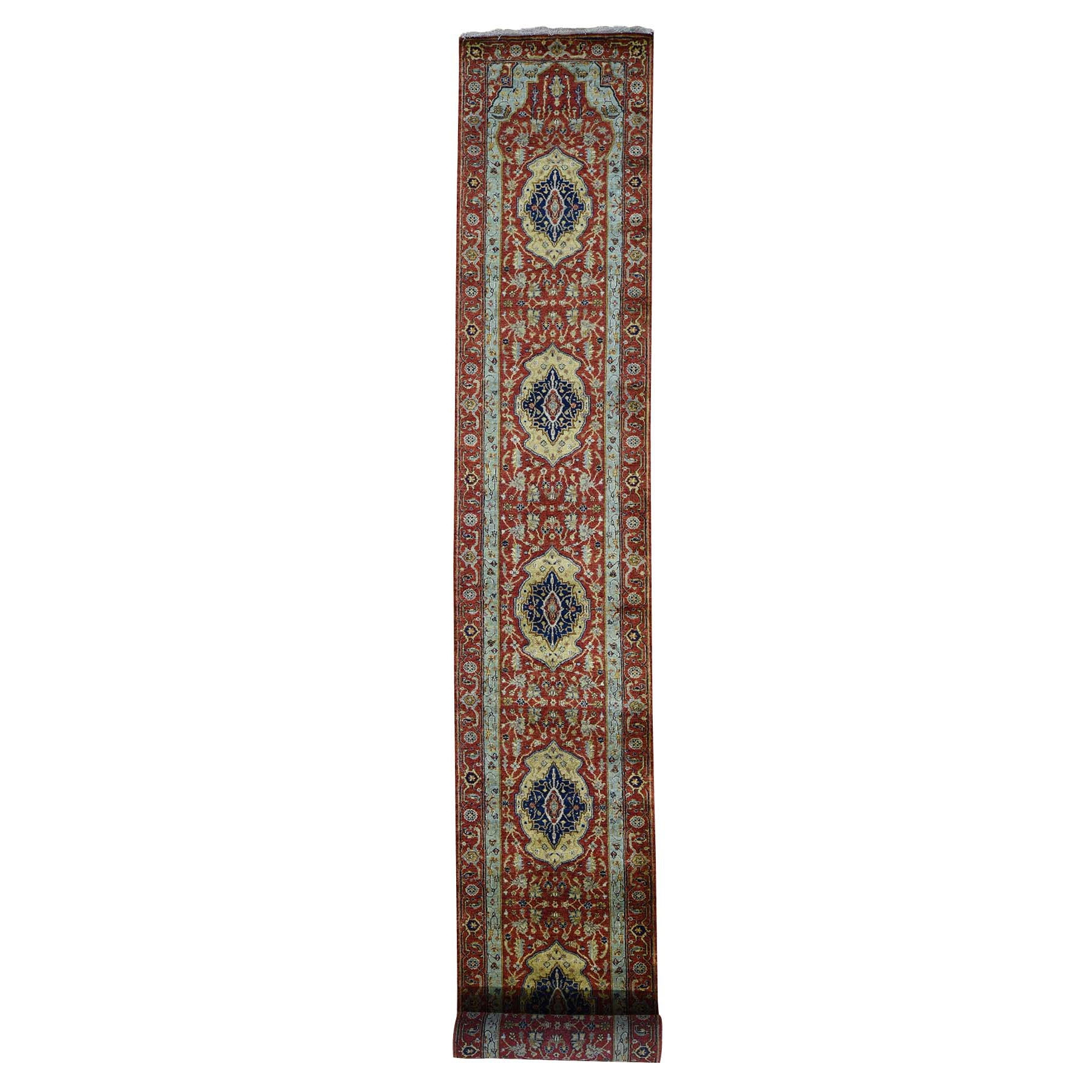 "2'7""X17'7"" Red Antiqued Heriz Pure Wool Xl Runner Hand Knotted Oriental Rug moad698d"