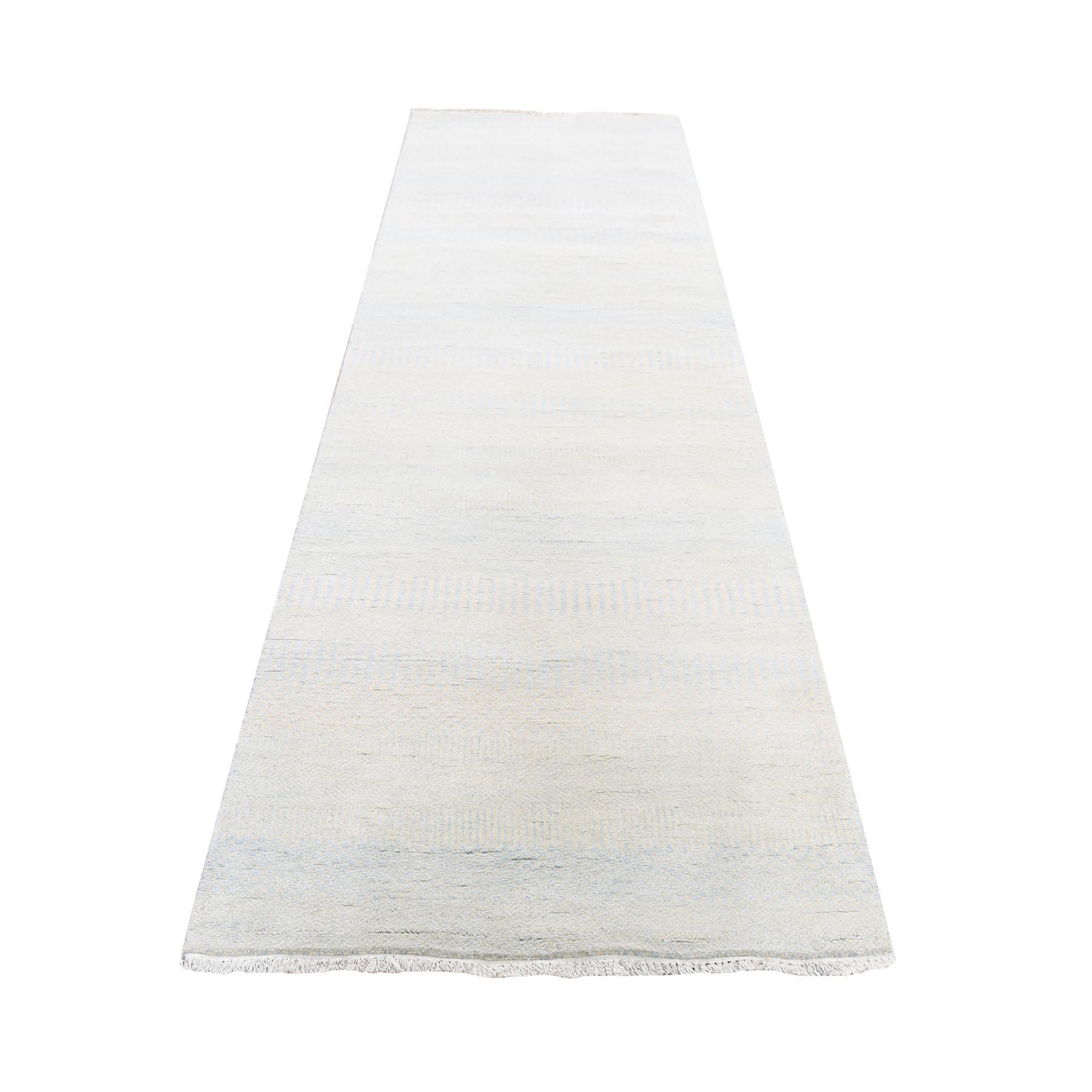 "2'7""X8'4"" Light Blue Grass Design Gabbeh Wool And Silk Hand Knotted Oriental Runner Rug moad6996"