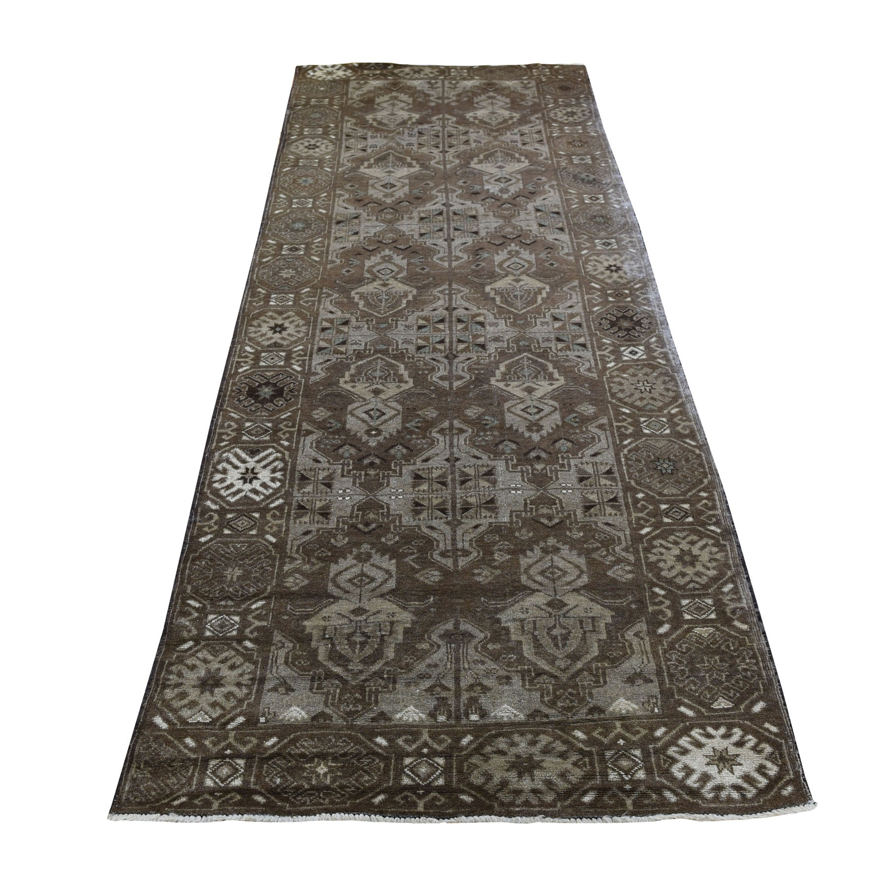 "2'10""X9'2"" Washed Out Afghan Baluch With Natural Colors  Pure Wool Runner Hand-Knotted Oriental Rug moad7009"