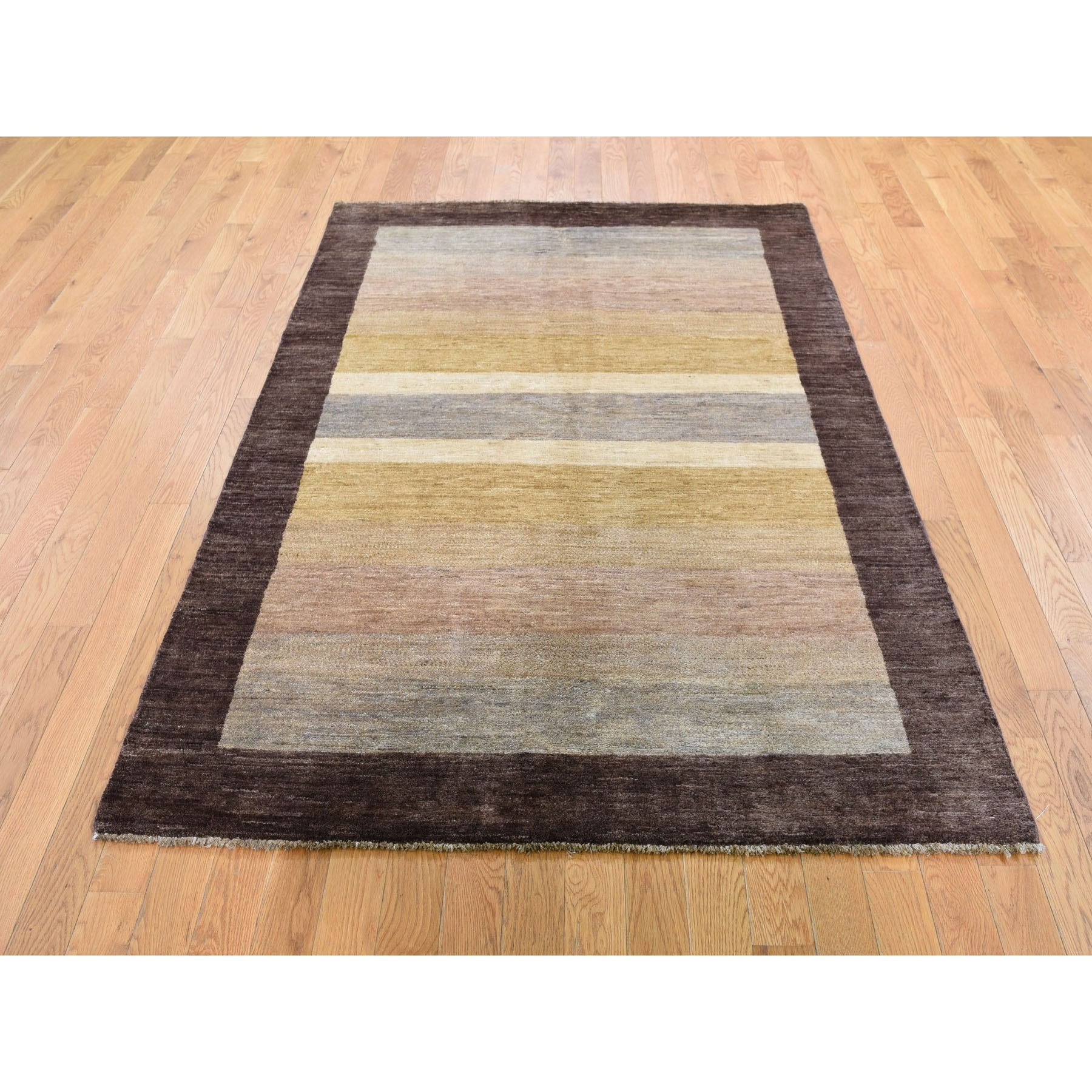 4-7 x6-7  Multicolored Hand Knotted Peshawar Gabbeh Pure Wool Oriental Rug