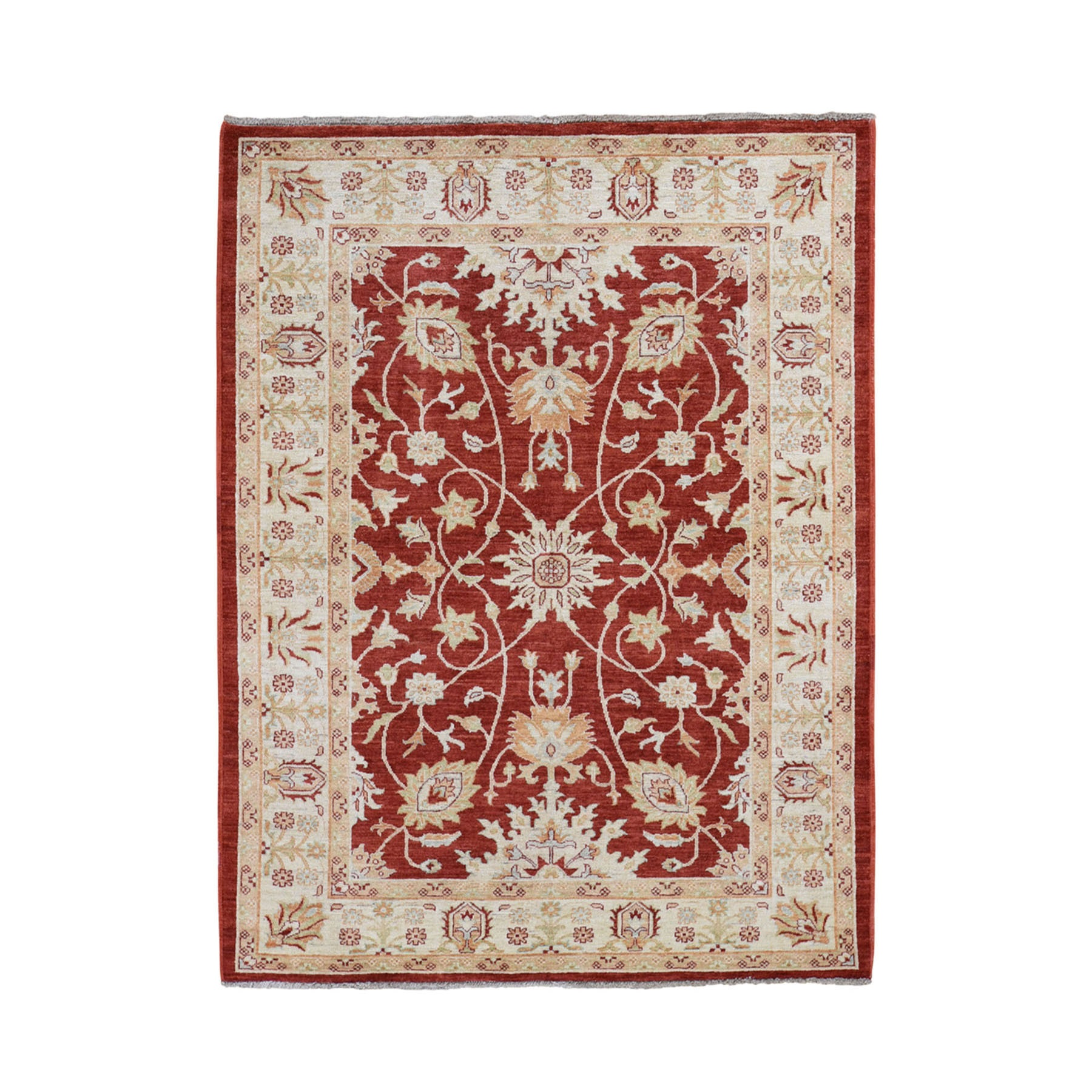 "5'X6'2"" Red Ziegler Mahal Oushak Pure Wool Hand Knotted Oriental Rug moad70ec"