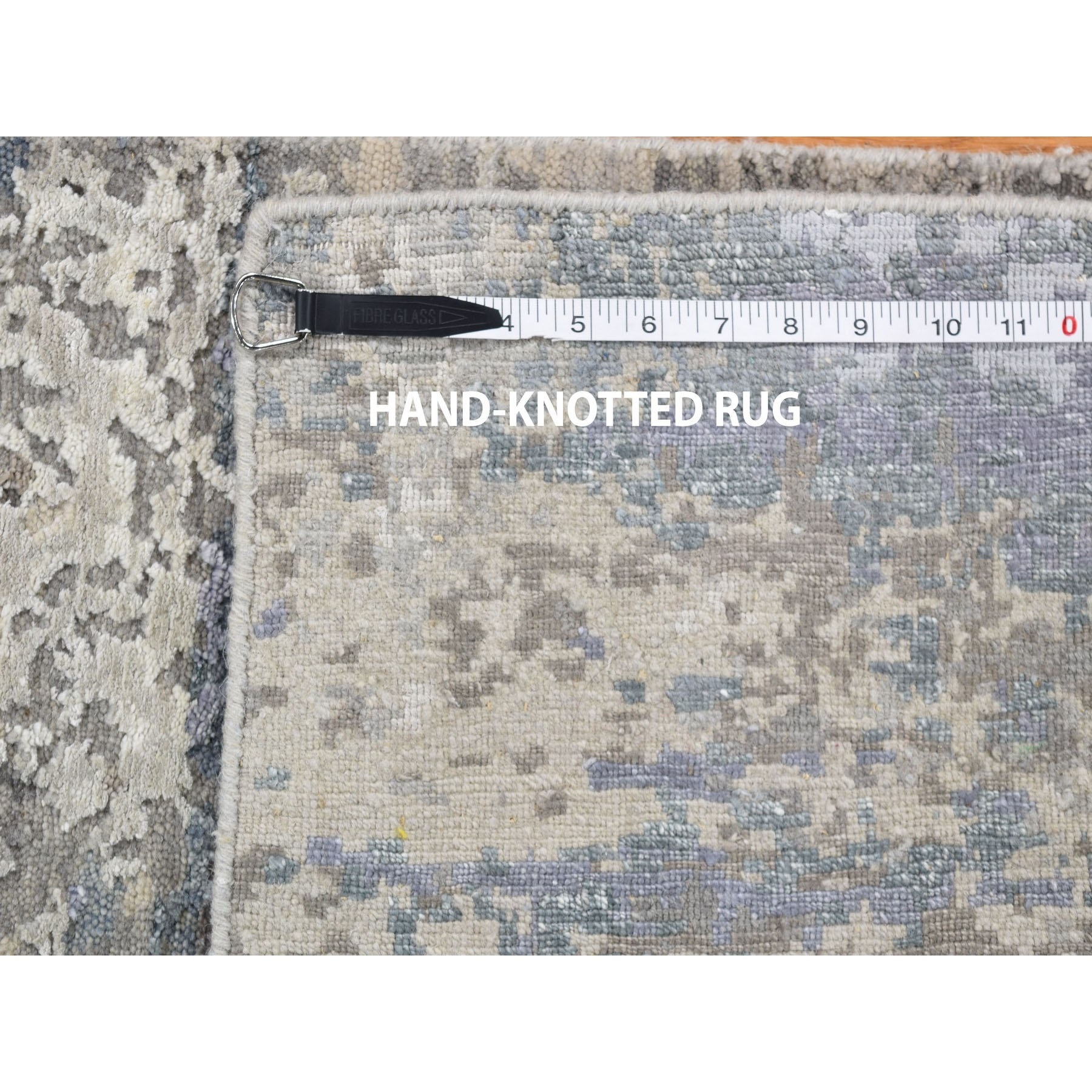 """2'x2'10"""" Hand-Knotted Abstract Design Hi-Lo Pile Wool And Silk Oriental Rug"""
