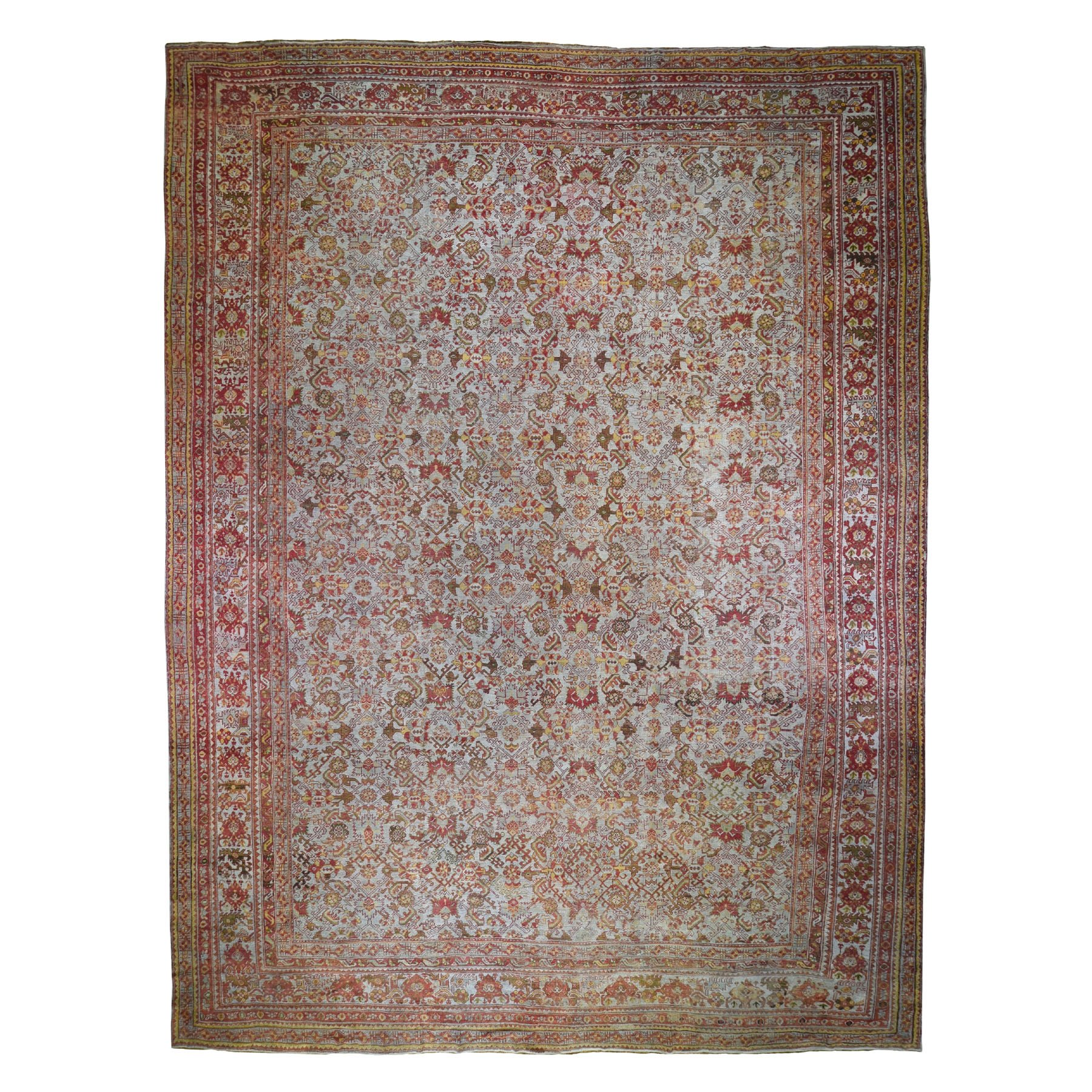 "16'8""x21' Mansion Size Antique Turkish Oushak All Over Design Pure Wool Hand Knotted Oriental Rug"