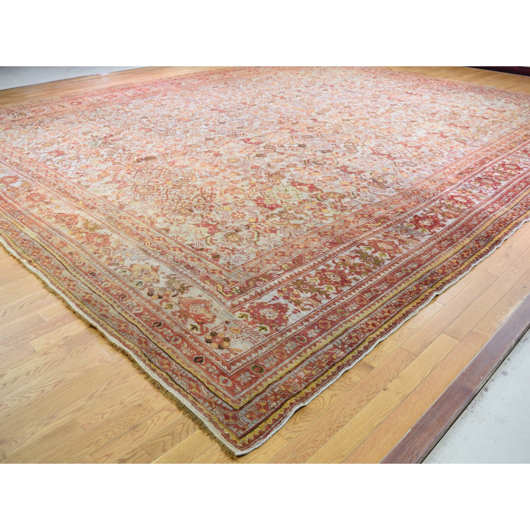 16-8 x21- Mansion Size Antique Turkish Oushak All Over Design Pure Wool Hand Knotted Oriental Rug