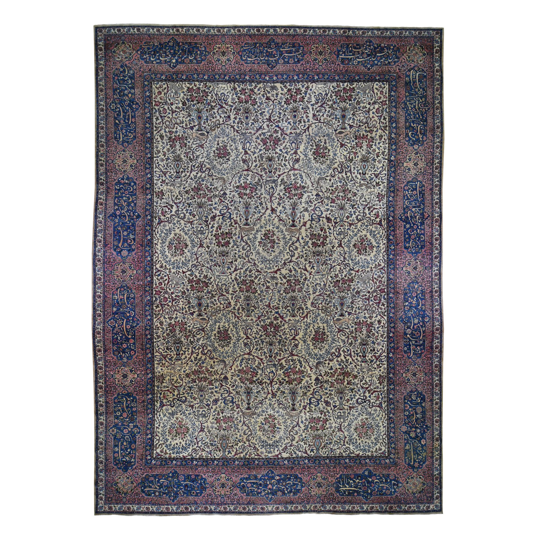 "13'9""X19'10"" Antique Persian Kerman With Poetry And Animals Oversize Oriental Rug moad708a"