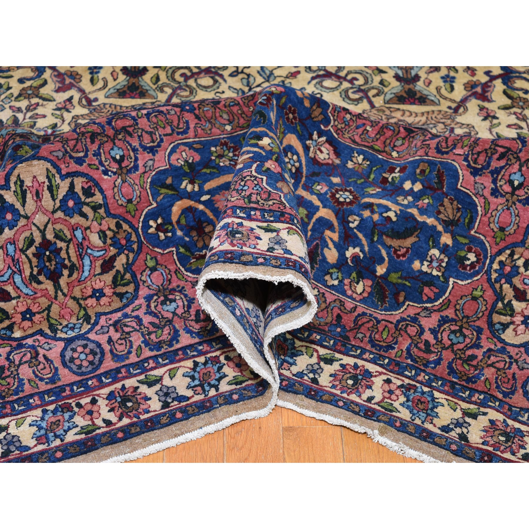 "13'9""x19'10"" Antique Persian Kerman with Poetry and Animals Oversize Oriental Rug"