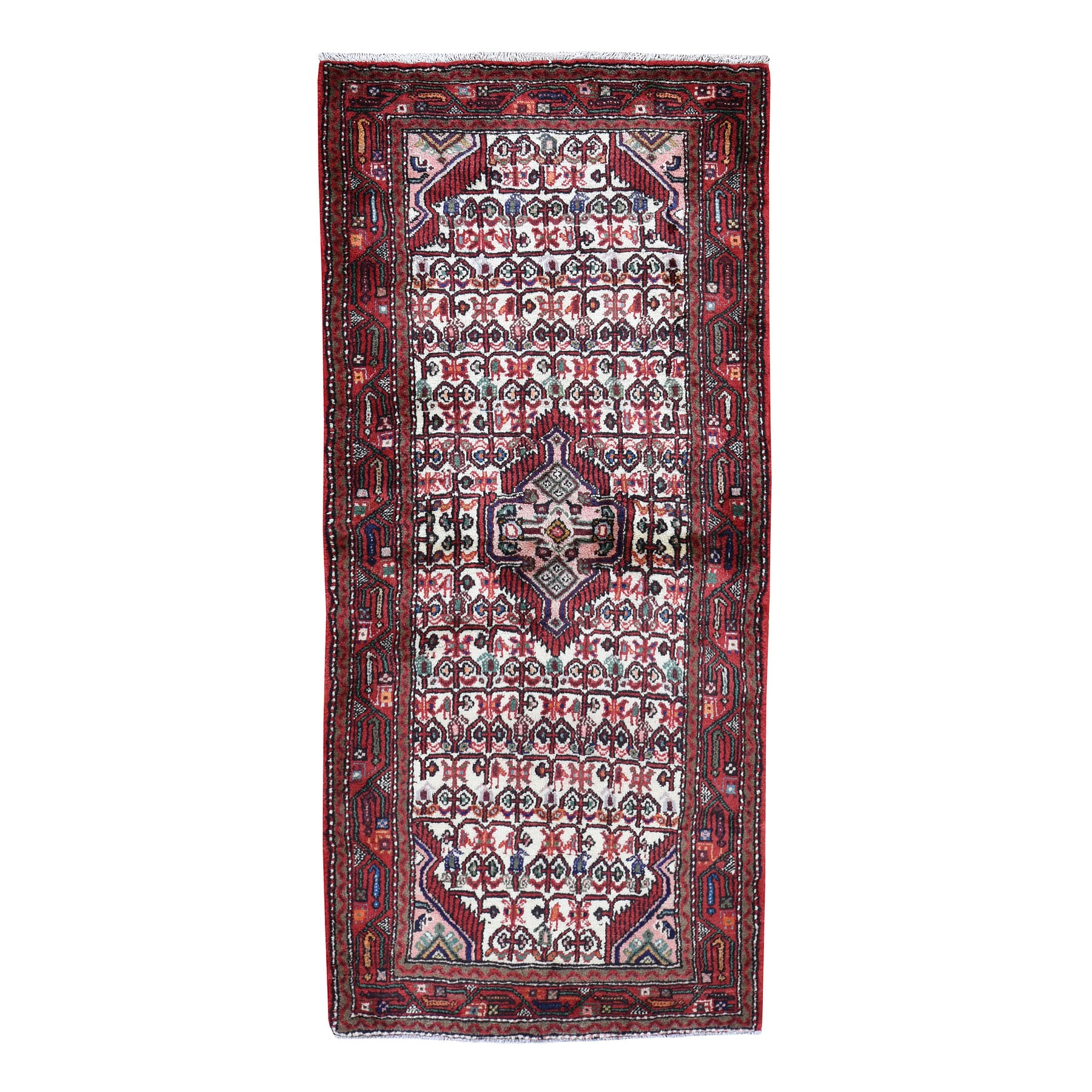 "3'1""X7'1"" Red New Persian Hamadan Pure Wool Runner Hand Knotted Oriental Rug moad708e"