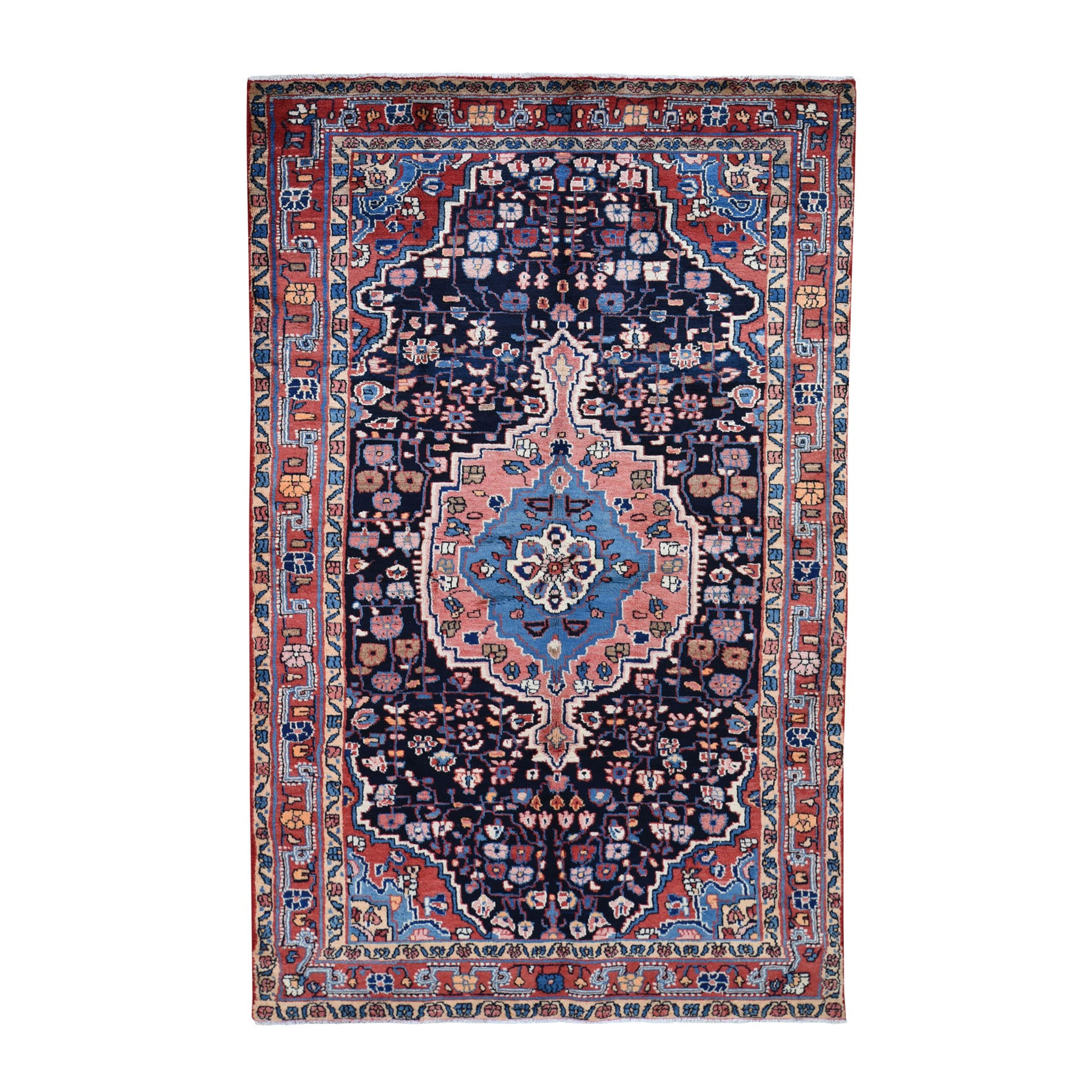 "4'10""X9'6"" Hand Knotted Salmon Vintage Persian Hamadan Pure Wool Full Pile Oriental Rug moad7a0a"