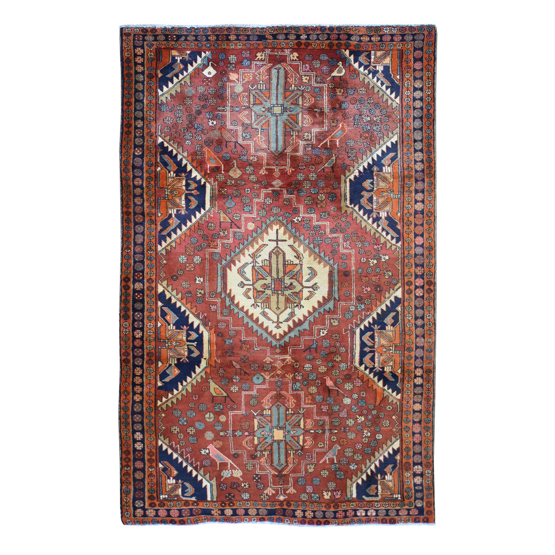 "5'4""X10'2"" Red New North West Persian With Birds Hand Knotted Oriental Rug moad7a0e"