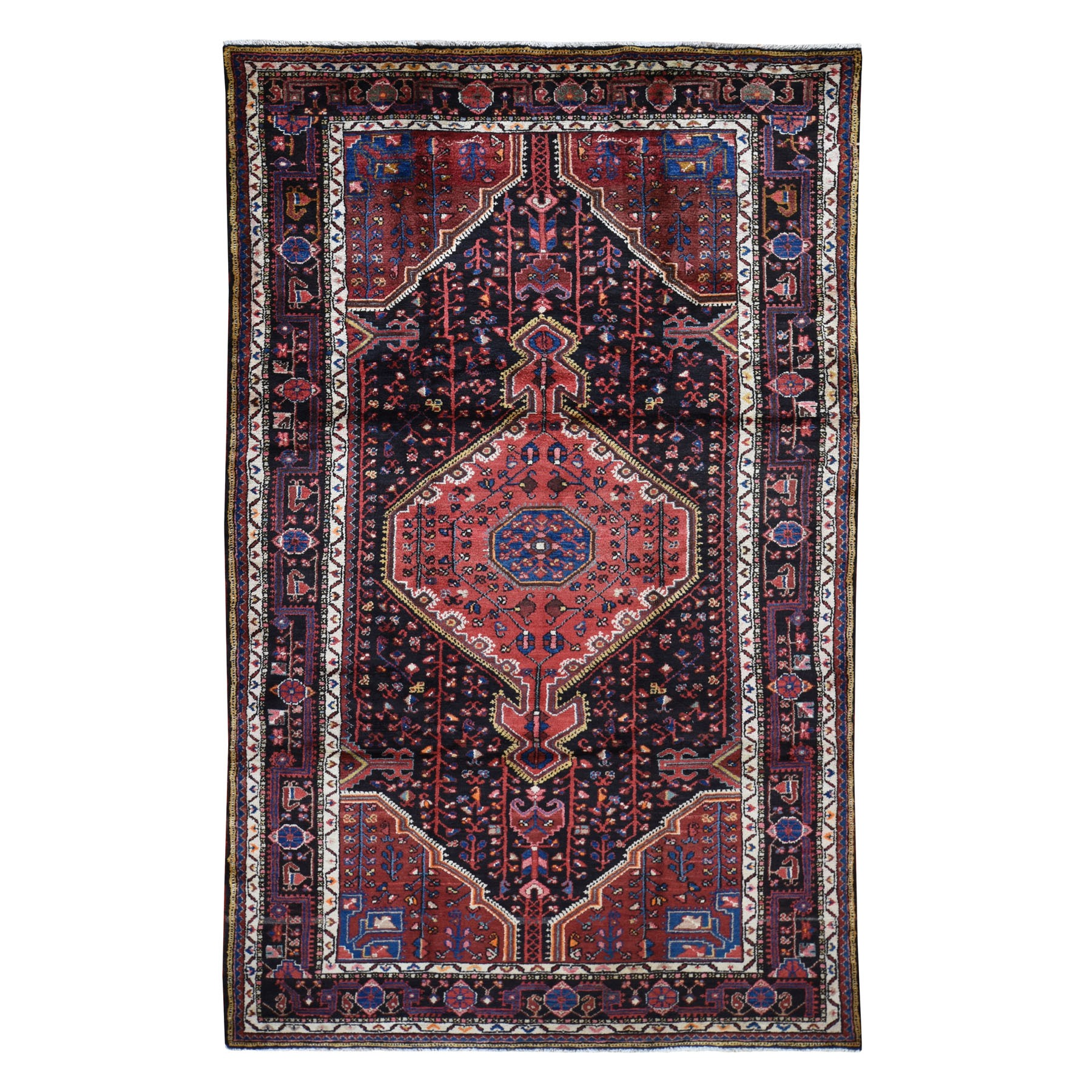 "5'X10'1"" Hand Knotted Midnight Blue New Persian Hamadan Pure Wool Oriental Rug moad7a06"