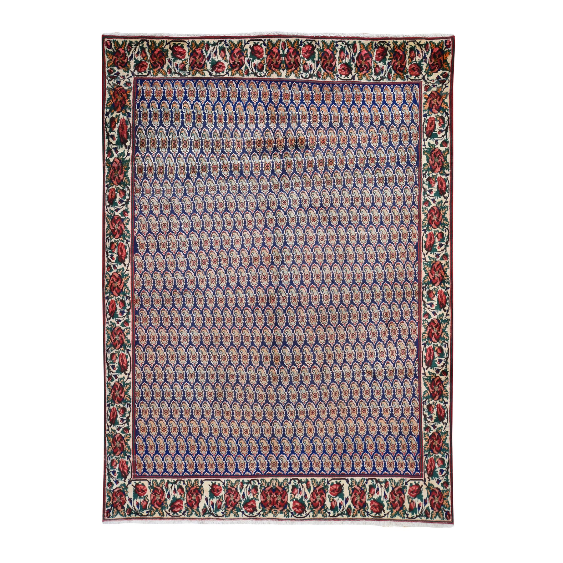 "6'X8'8"" Blue New Persian Karabakh With Paisley Design Pure Wool Hand Knotted Oriental Rug moad7aad"