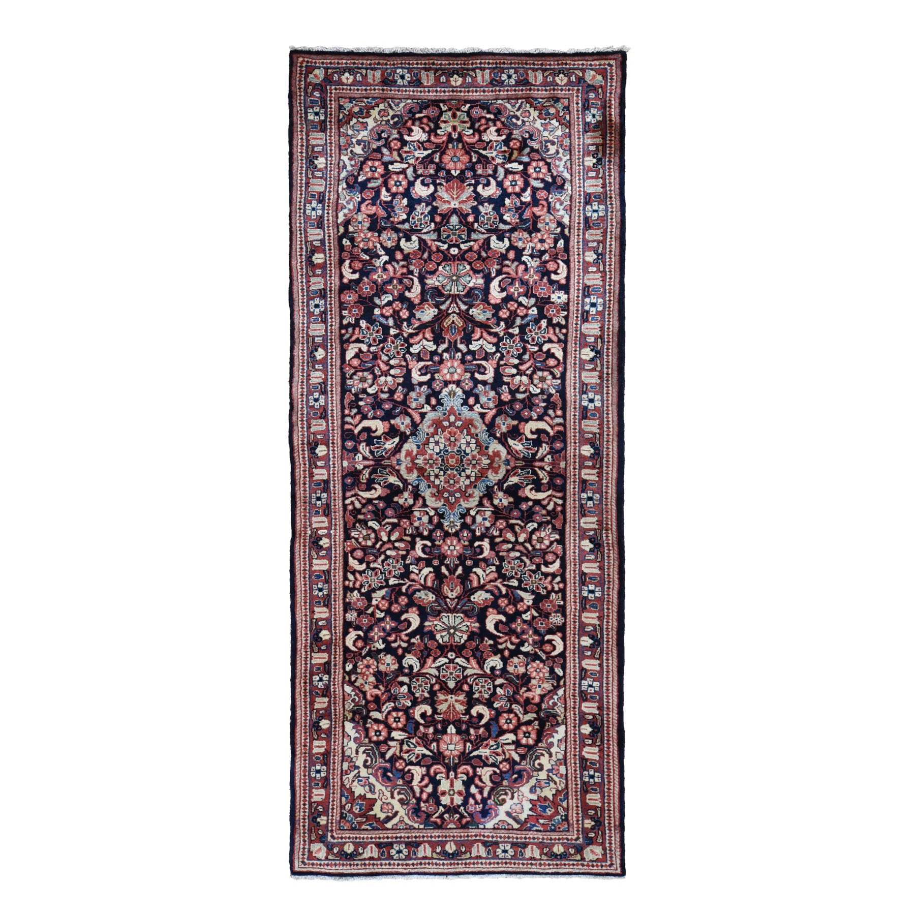 "3'8""X10'2"" Navy Blue Vintage Persian Lilahan Pure Wool Hand Knotted Wide Runner Tribal Oriental Rug moad7abc"