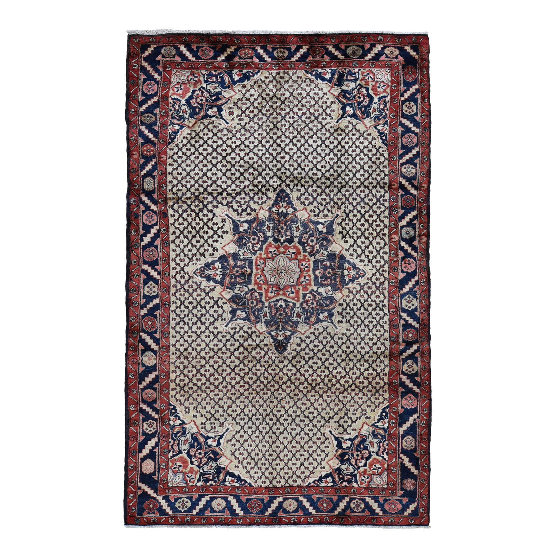 "5'2""X9'8"" Gallery Size Vintage Persian Hamadan Camel Hair Pure Wool Hand Knotted Oriental Rug moad7abd"