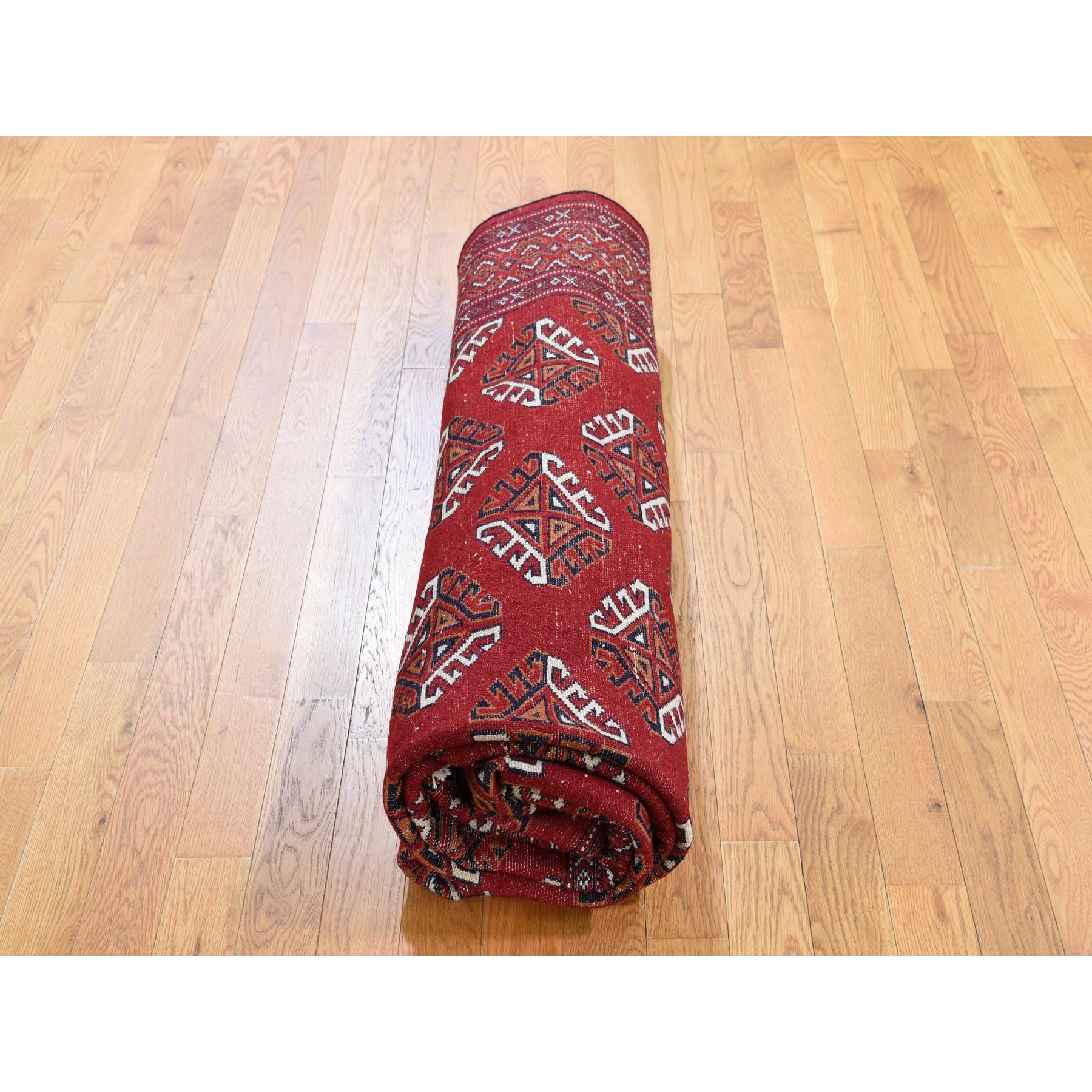 6-10 x9-5  Red New Turkoman Bokara Pure Wool Hand Knotted Oriental Rug