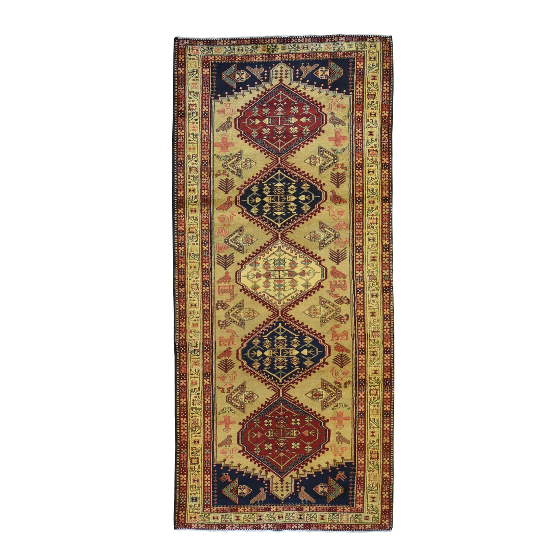4-5 x10-10   Gallery Size Gold Vintage North West Persian With Birds Hand Knotted Oriental Rug