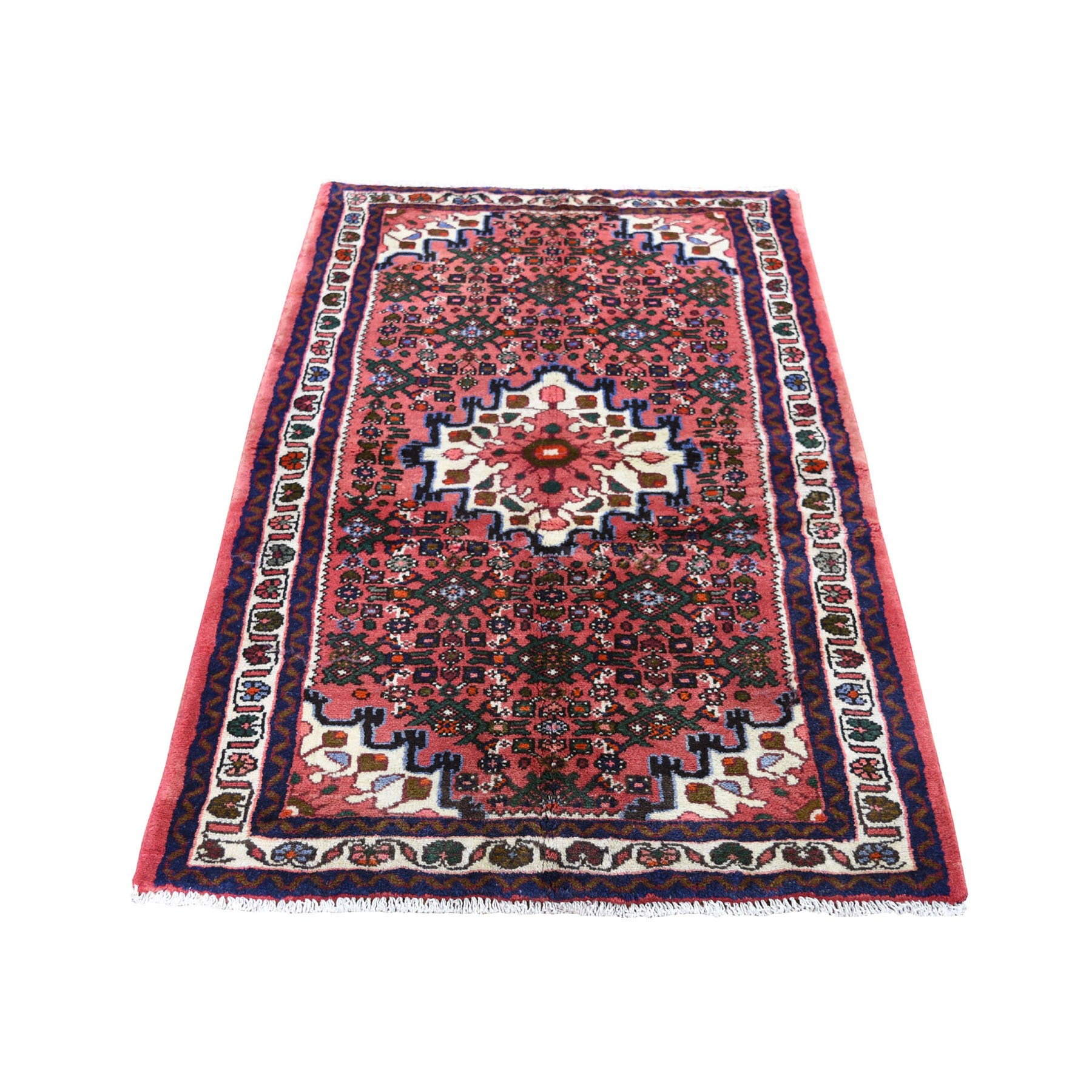 """3'2""""X4'9"""" Pink New Persian Hamadan Pure Wool Hand Knotted Oriental Rug moad7ab8"""