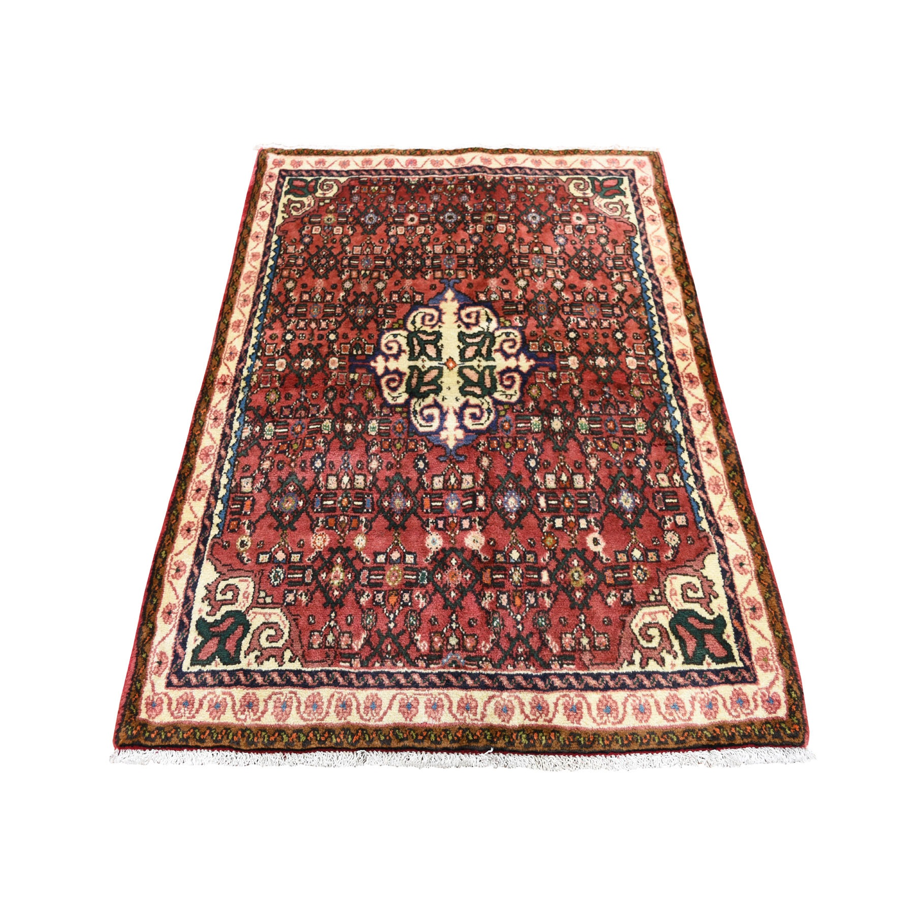 """3'6""""X4'10"""" Red New Persian Hamadan Pure Wool Hand Knotted Oriental Rug moad7ac0"""