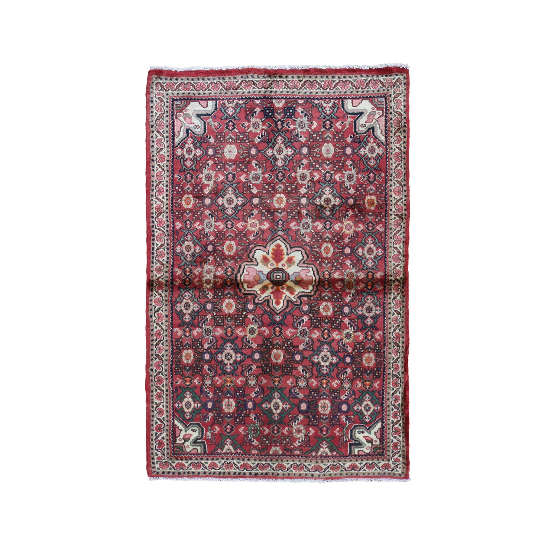 "3'4""X5'6"" Red Vintage Persian Hamadan Clean Hand Knotted Pure Wool Oriental Rug moad7ace"