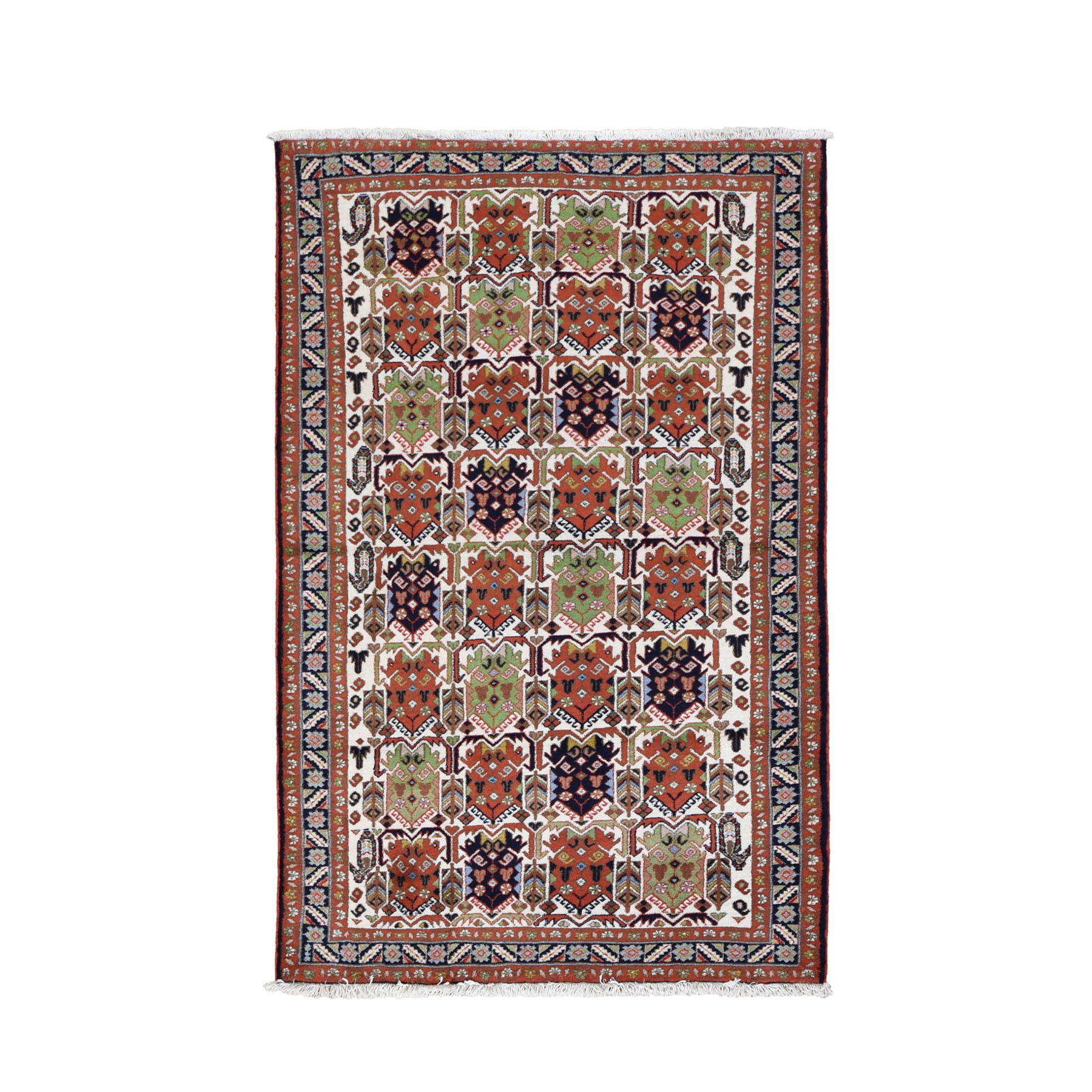 """3'10""""X5'10"""" Ivory Vintage Persian Ardabil With Block Design Pure Wool Hand Knotted Oriental Rug moad7ac8"""