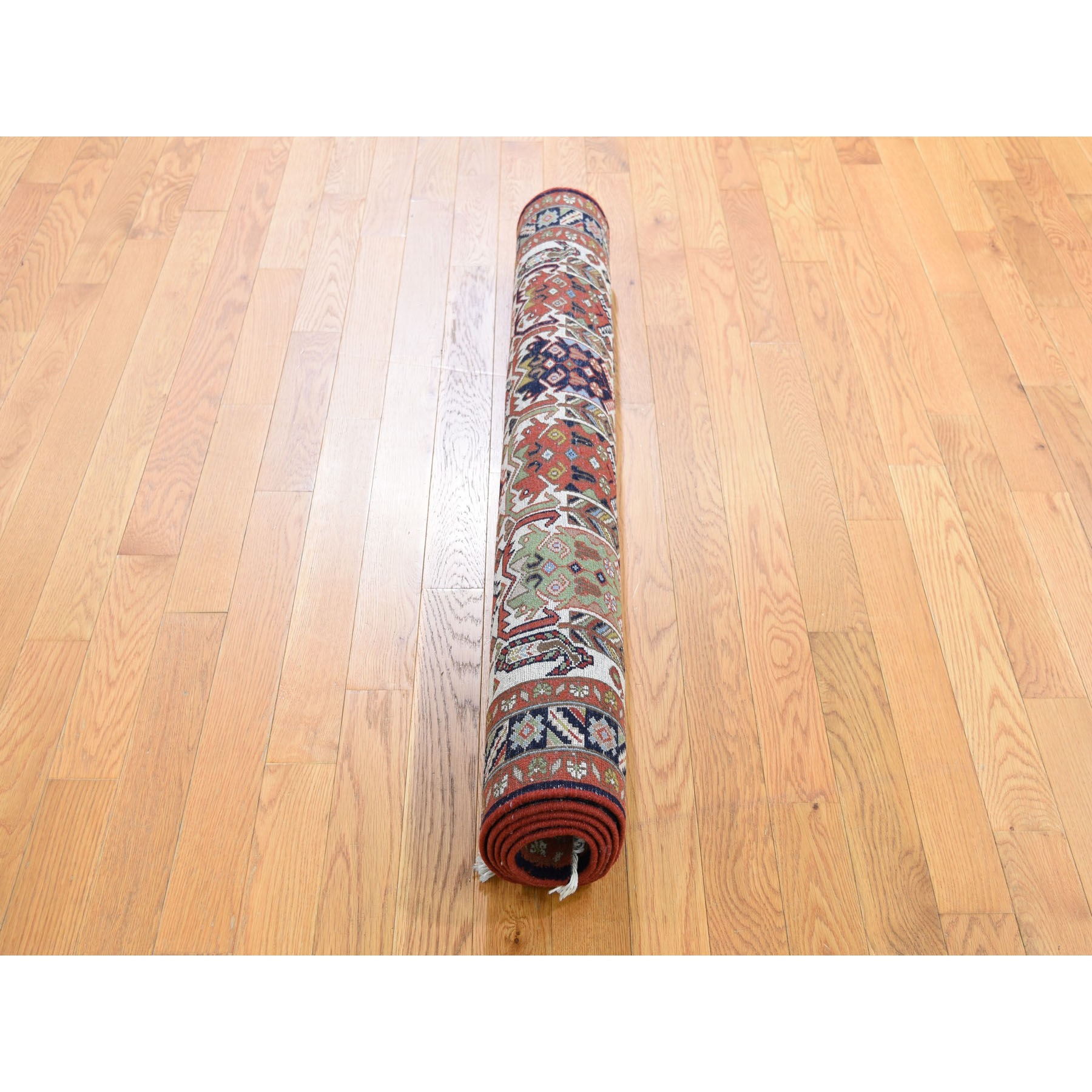 3-10 x5-10  Ivory Vintage Persian Ardabil With Block Design Pure Wool Hand Knotted Oriental Rug