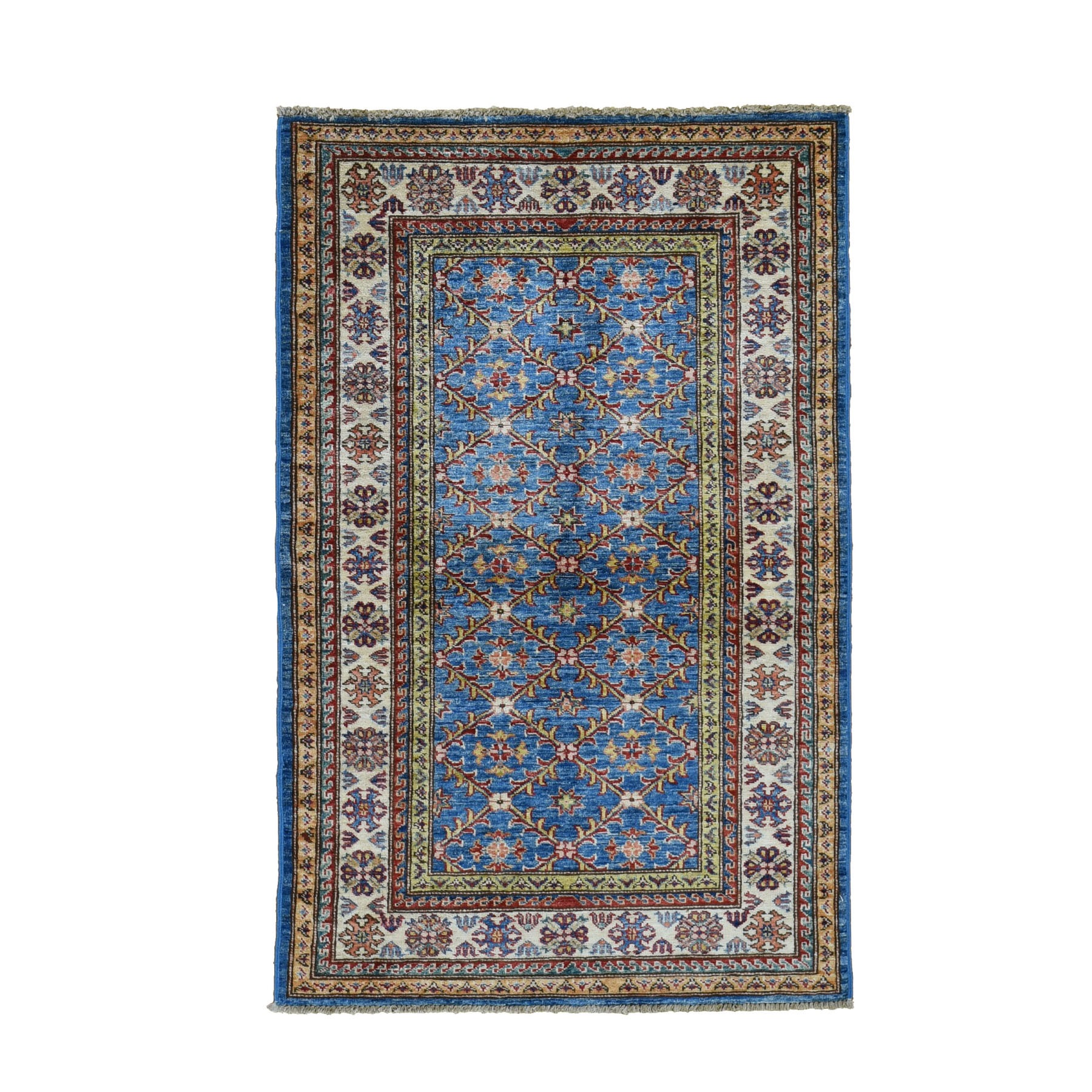 "3'3""X5' Blue Super Kazak Geometric Design Pure Wool Hand Knotted Oriental Rug moad7ade"