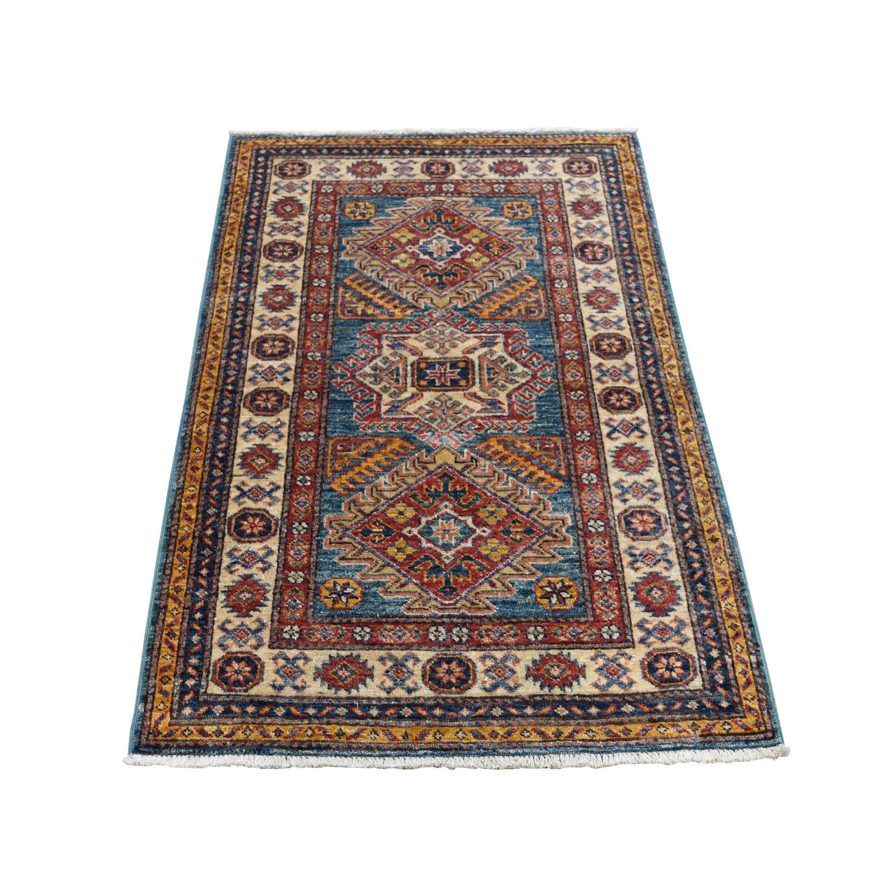 "2'9""X3'9"" Blue Super Kazak Geometric Design Pure Wool Hand Knotted Oriental Rug moad7ad9"