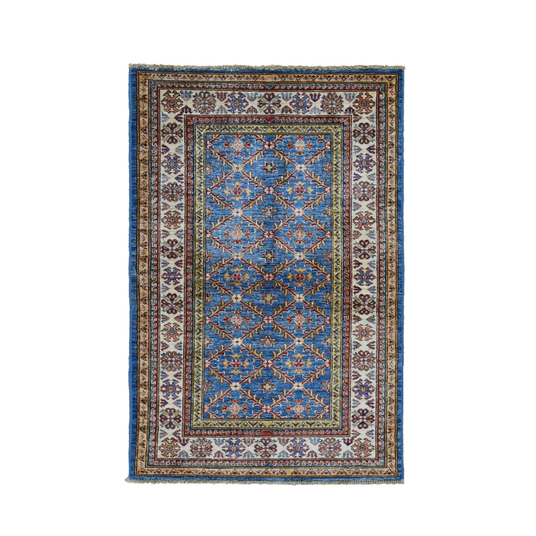 "3'3""X5' Blue Super Kazak Geometric Design Pure Wool Hand Knotted Oriental Rug moad7ae0"