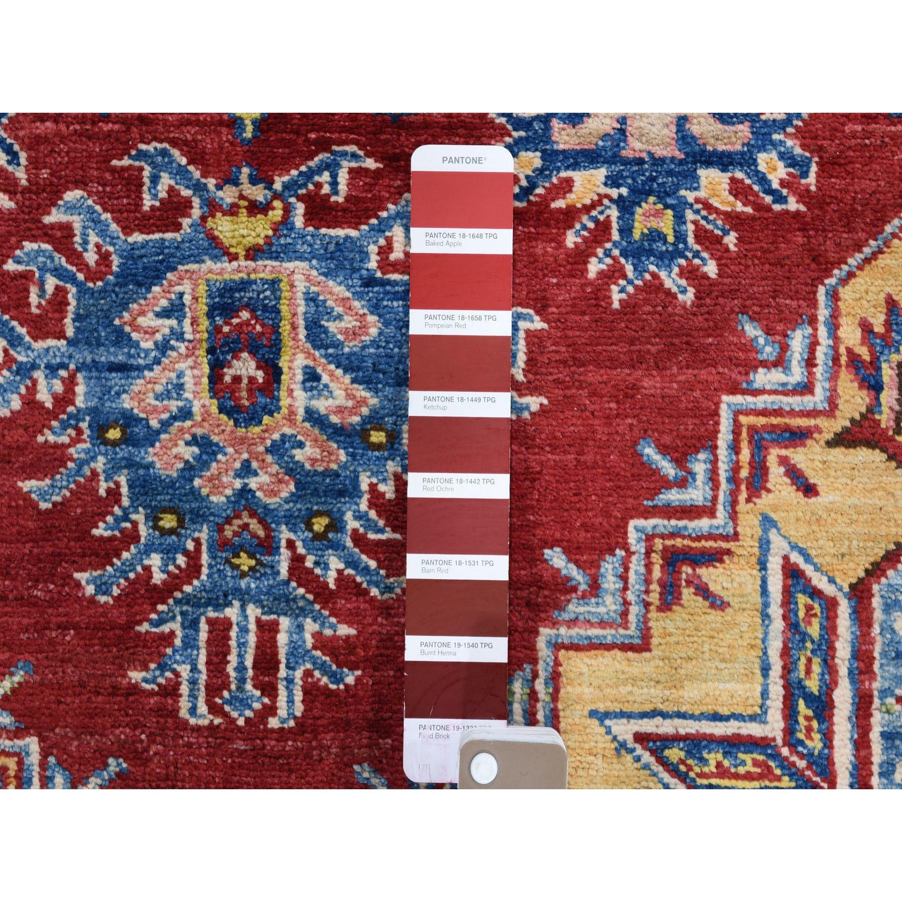 3-4 x5-2  Red Super Kazak With Heriz Design Pure Wool Hand Knotted Oriental Rug