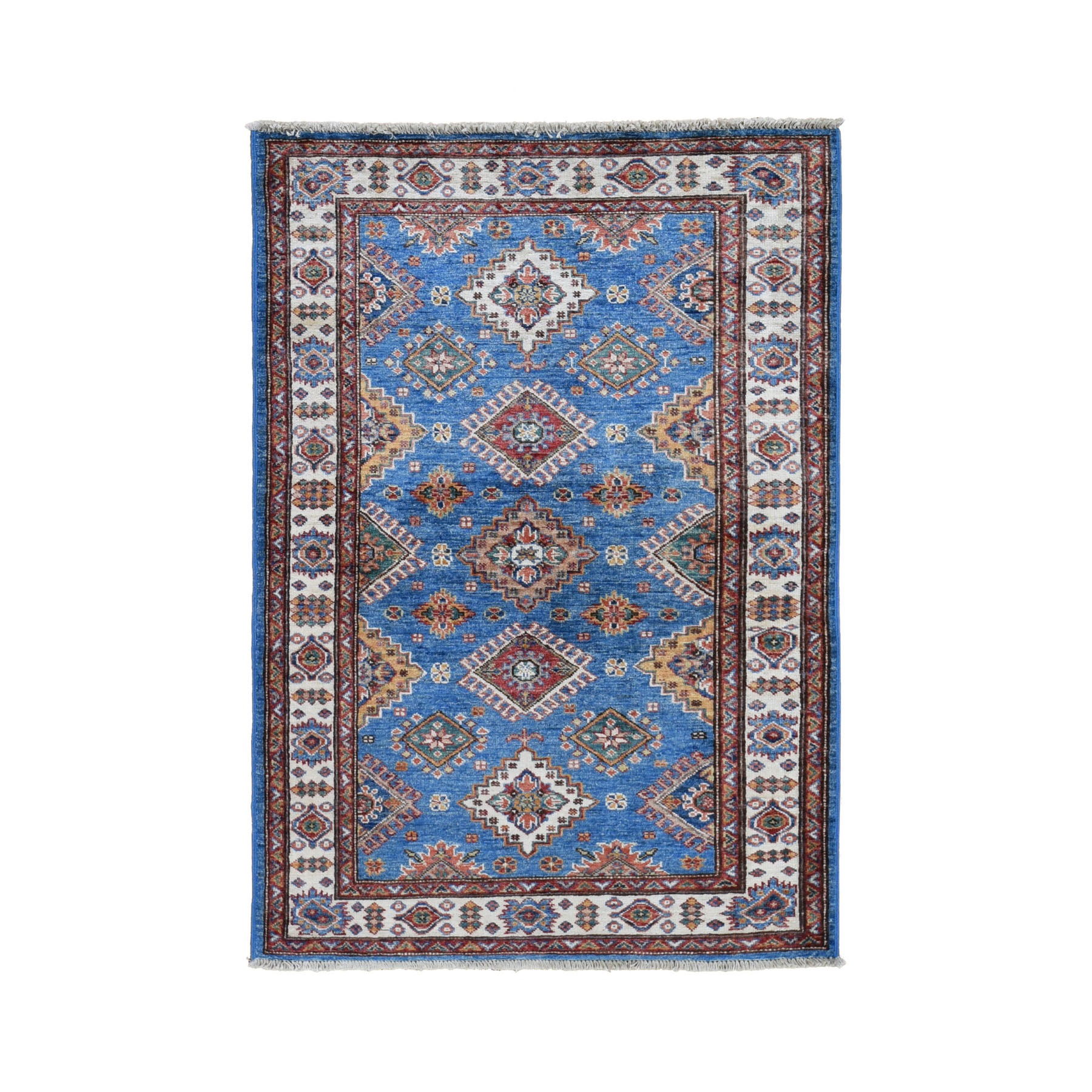 "3'3""X5'2"" Blue Super Kazak Geometric Design Pure Wool Hand Knotted Oriental Rug moad7ae9"