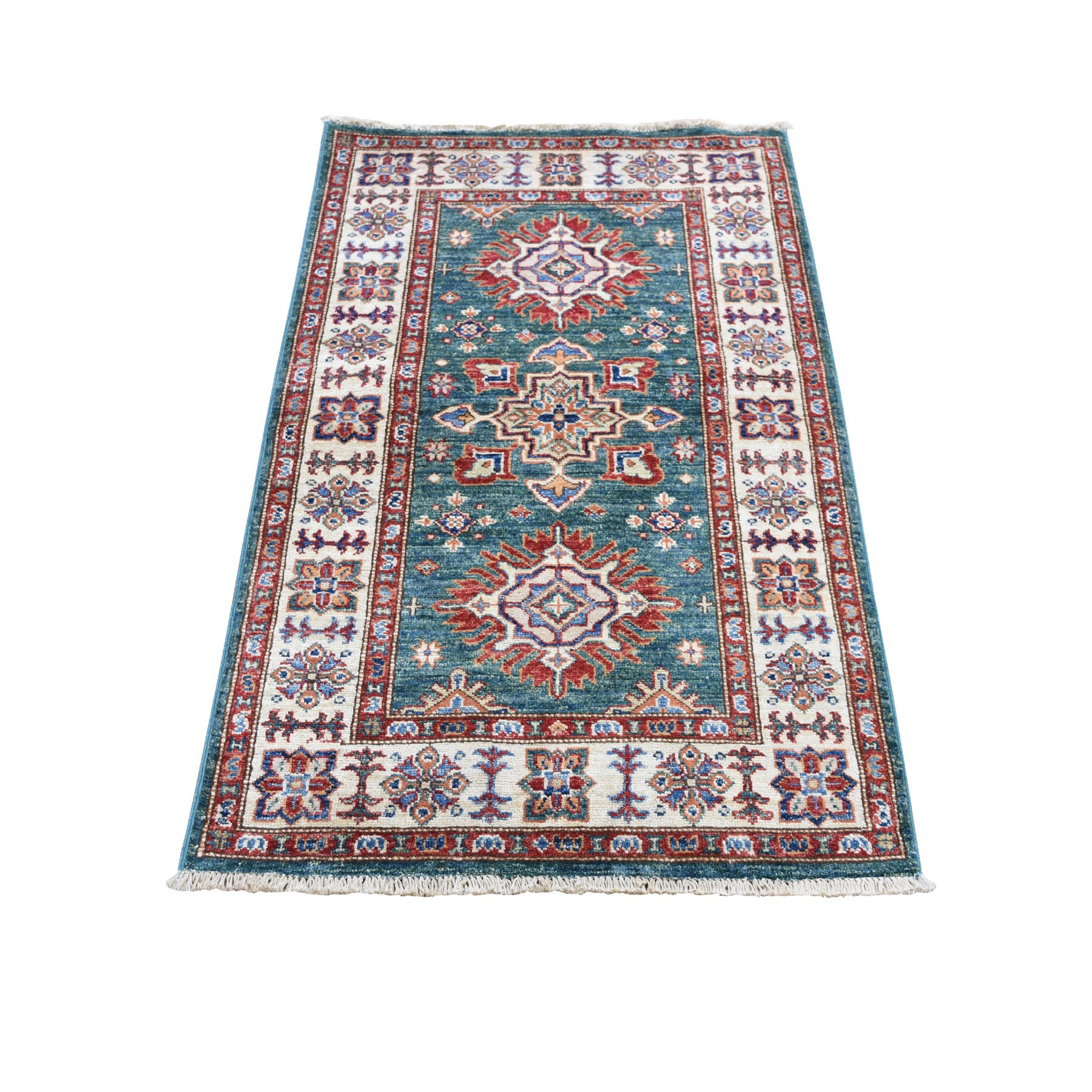 "2'7""X4' Green Super Kazak Pure Wool Geometric Design Hand Knotted Oriental Rug moad7a6a"
