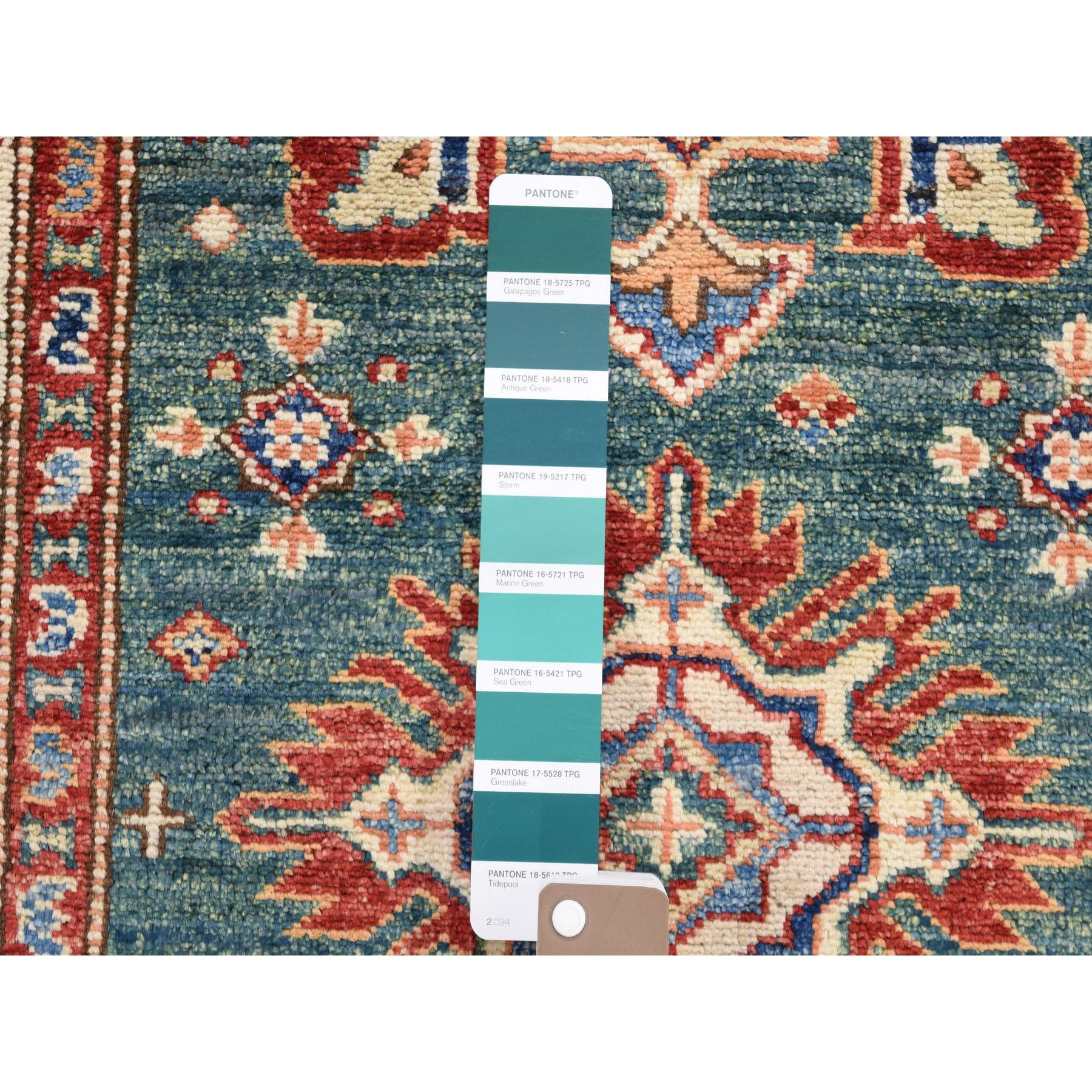 2-7 x4- Green Super Kazak Pure Wool Geometric Design Hand Knotted Oriental Rug