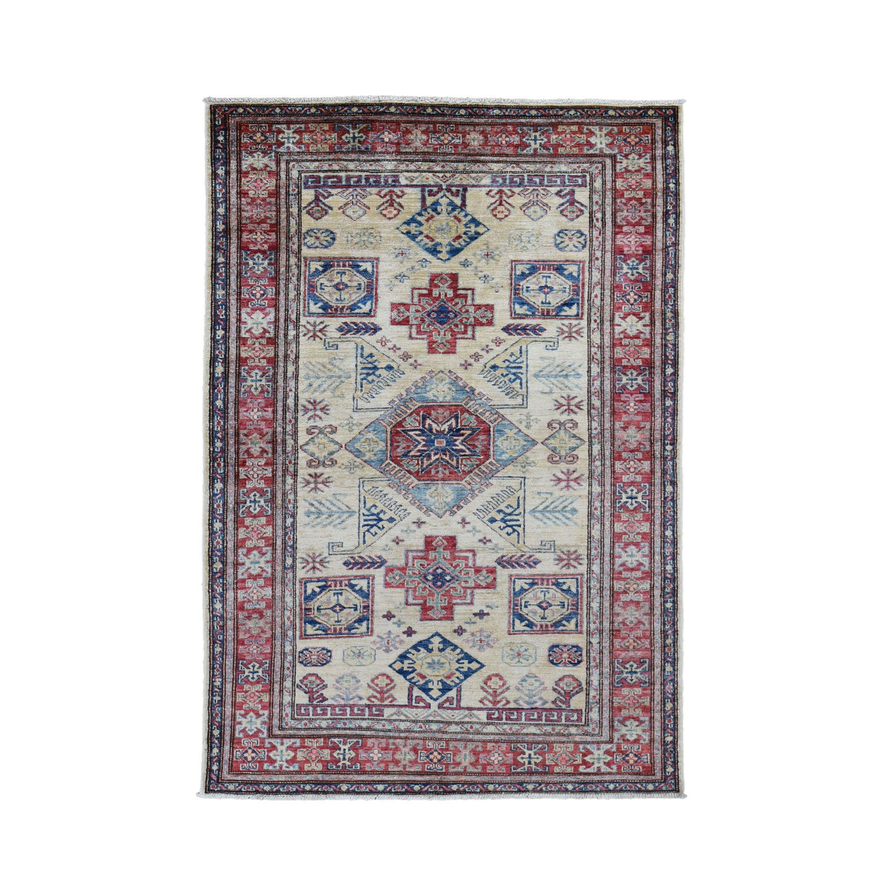 "4'X6'1"" Ivory Super Kazak Pure Wool Geometric Design Hand Knotted Oriental Rug moad7a6c"