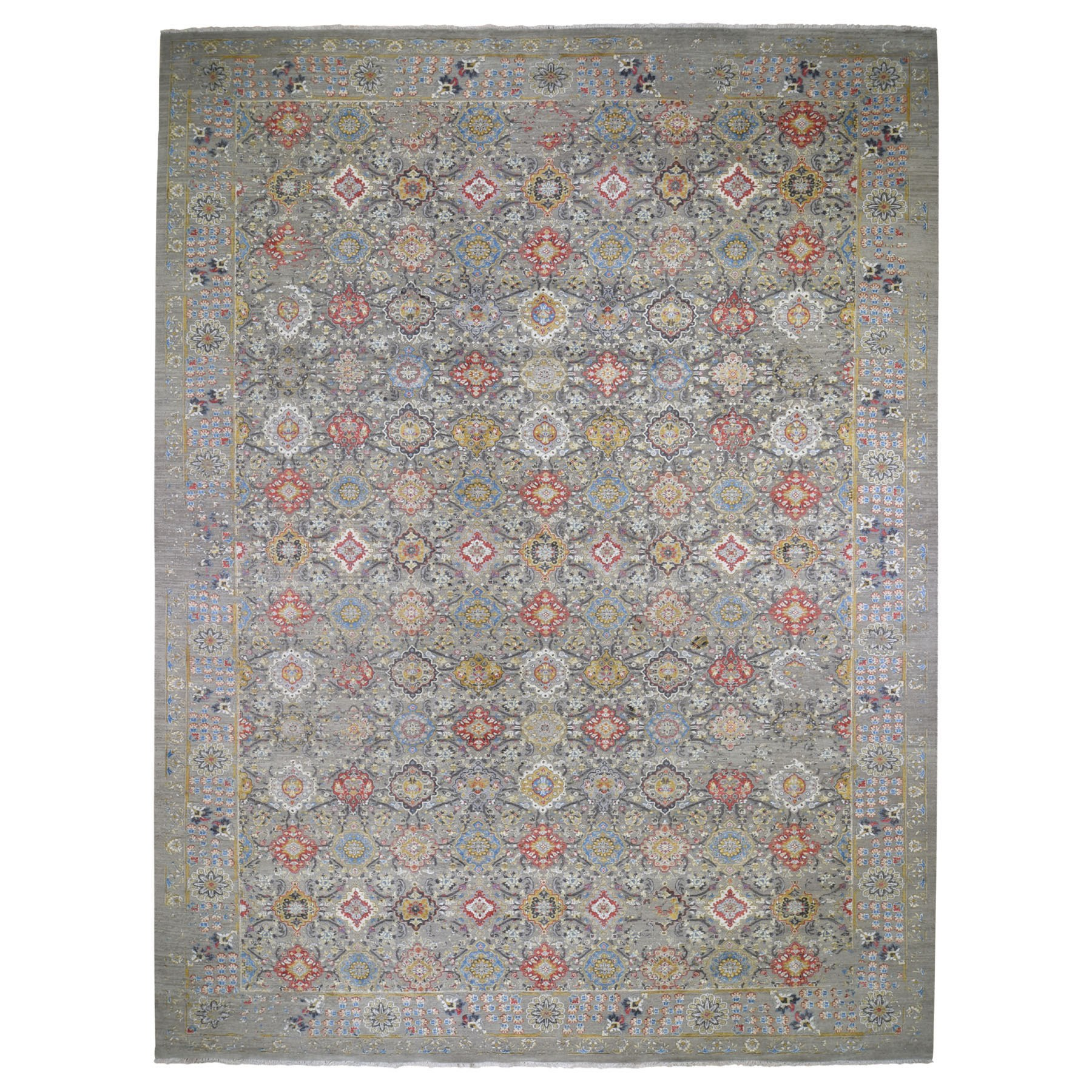 "12'X18'1"" Oversize The Sunset Rosettes Wool & Pure Silk Hand-Knotted Oriental Rug moad7a8e"