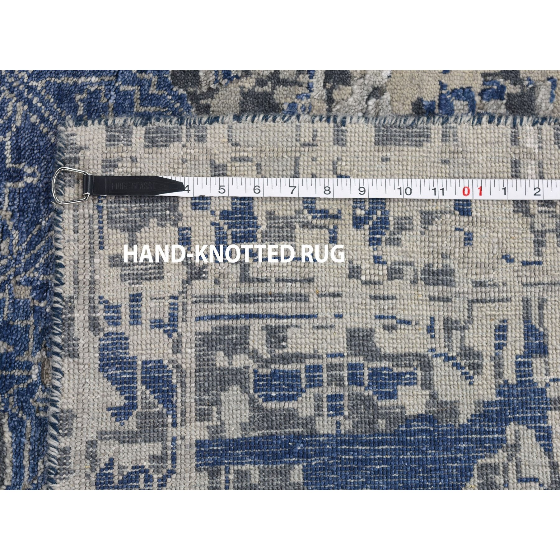 10'x14' Blue-Gray Erased Heriz Design Wool and Silk Hand-Knotted Oriental Rug