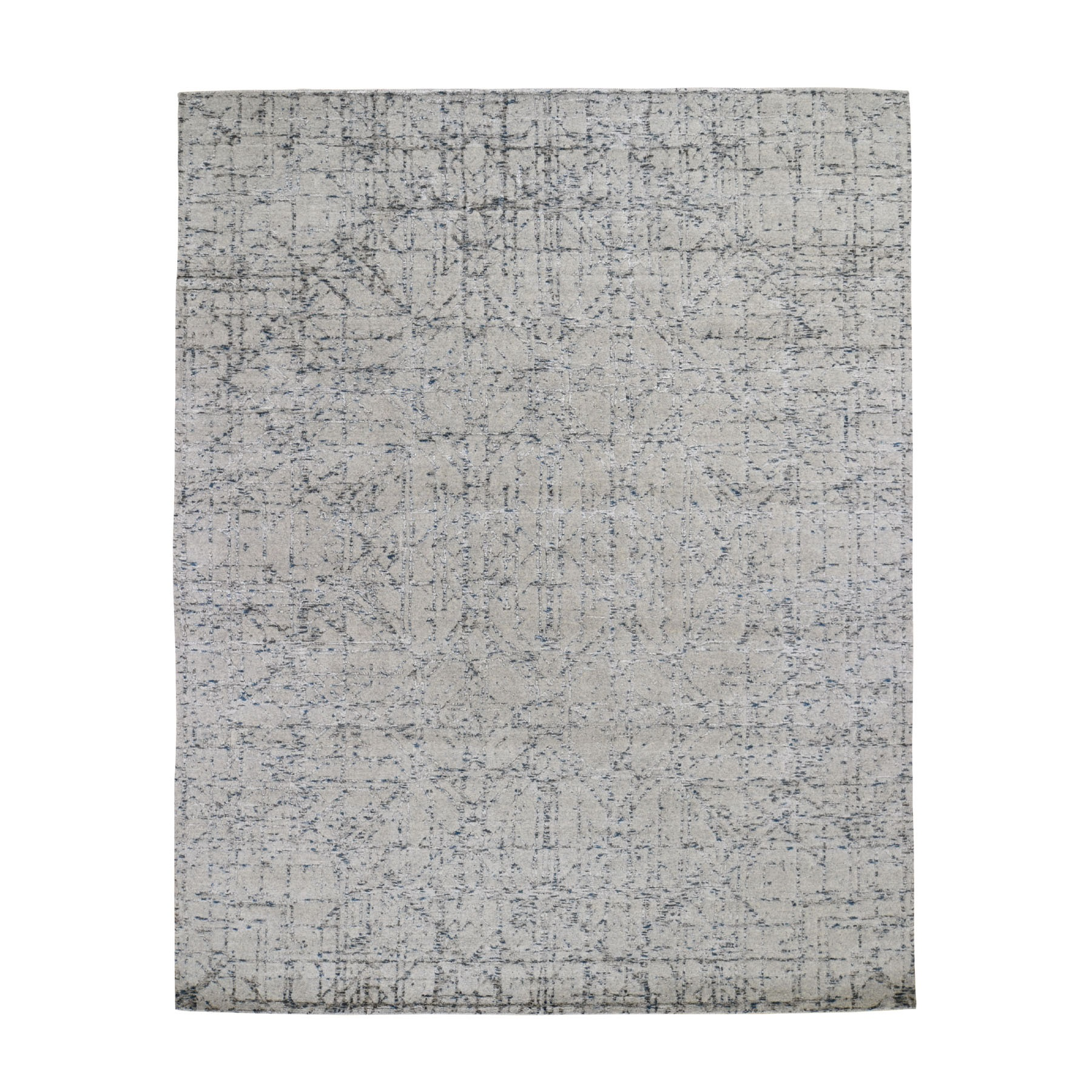 8'X10' Gray Fine Jacquard Hand-Loomed Modern Wool And Silk Oriental Rug moad7a9a