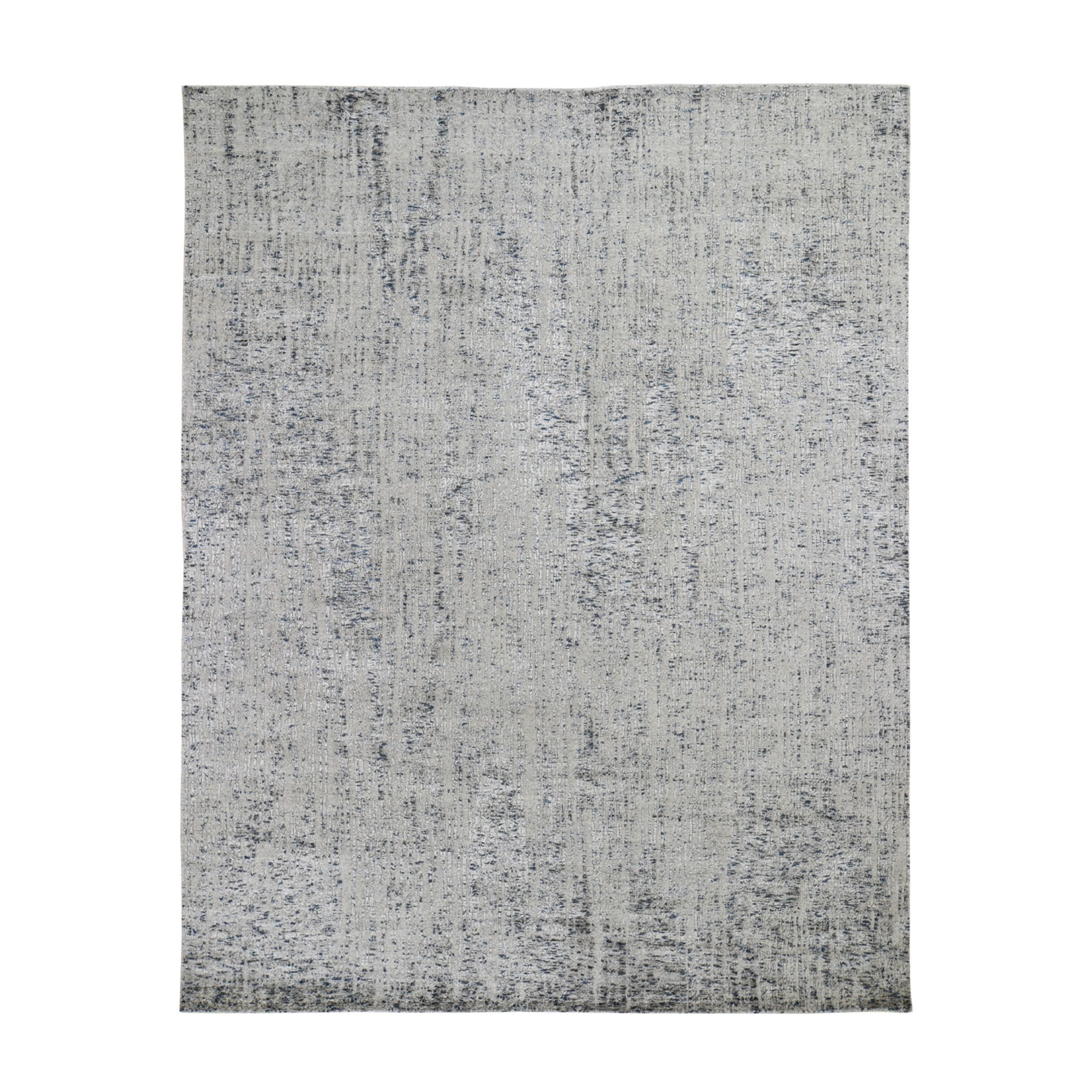 "8'x10"" Gray Fine jacquard Hand-Loomed Modern Wool And Silk Oriental Rug"