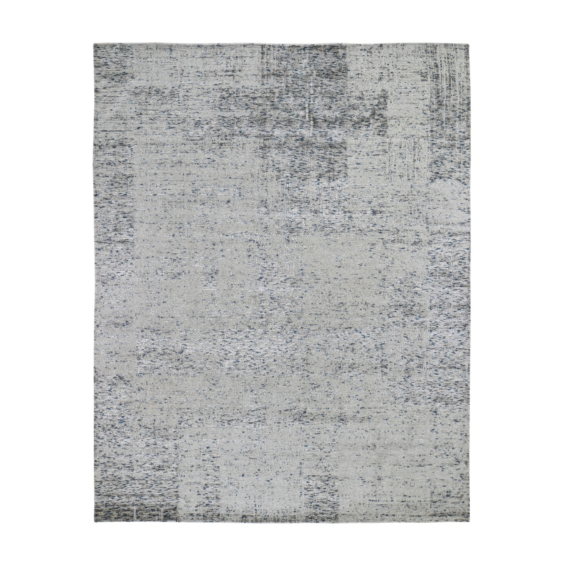 "7'10""X10' Gray Fine Jacquard Hand-Loomed Modern Wool And Silk Oriental Rug moad7a9c"