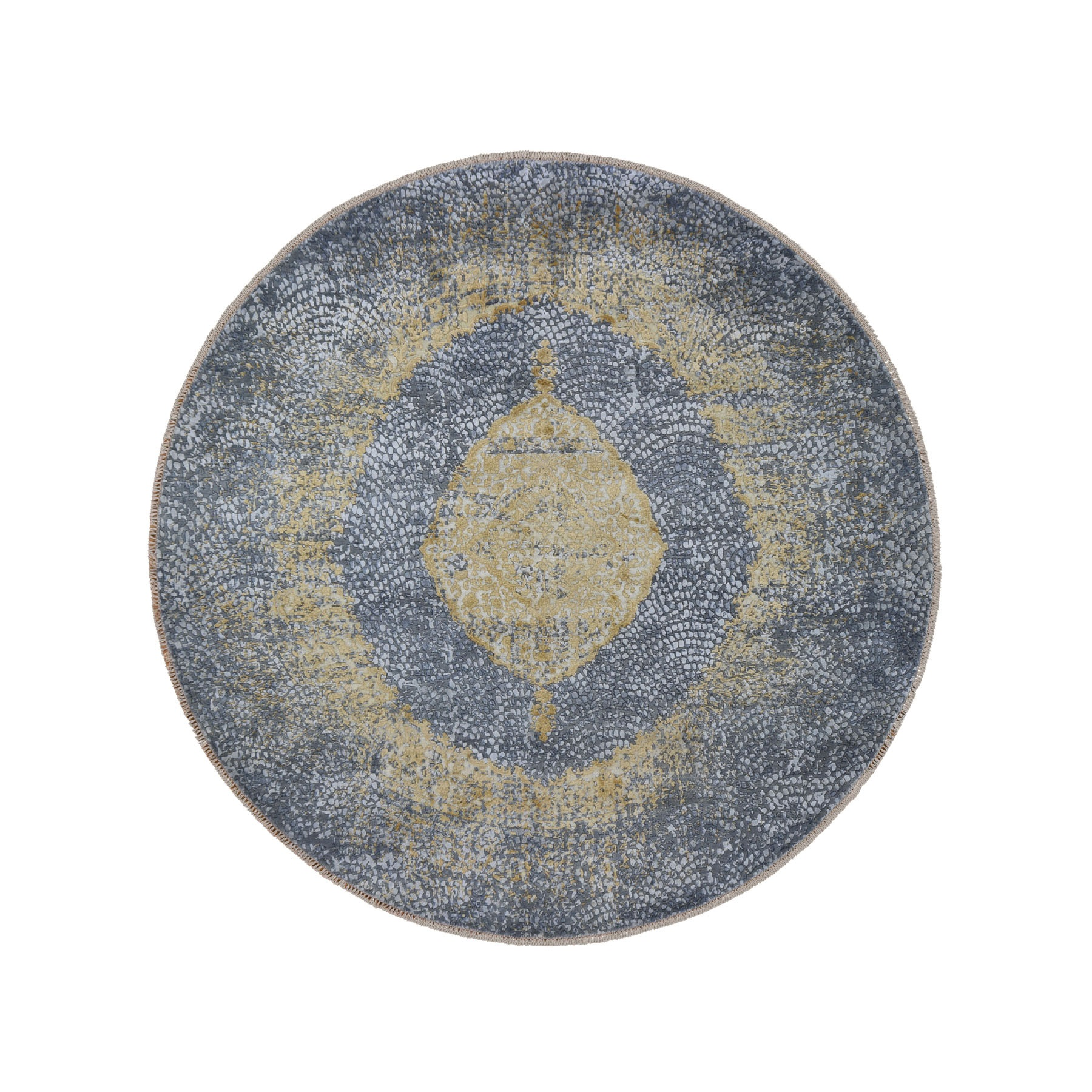"7'10""x7'10"" Round Gray Gold Persian Design Wool And Pure Silk Hand Knotted Oriental Rug"